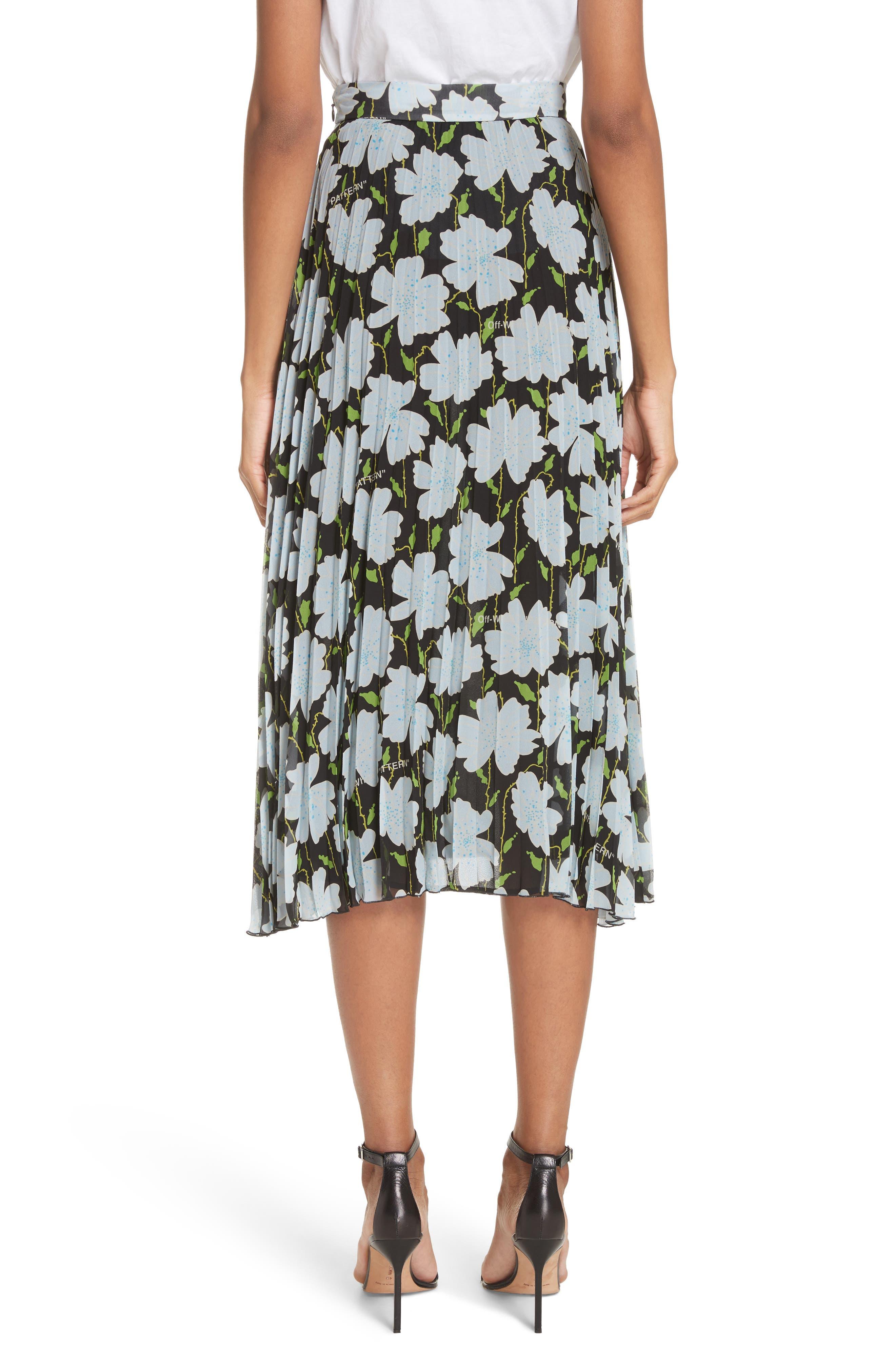 Floral Plissé Silk Skirt,                             Alternate thumbnail 2, color,                             All Over/ No Color