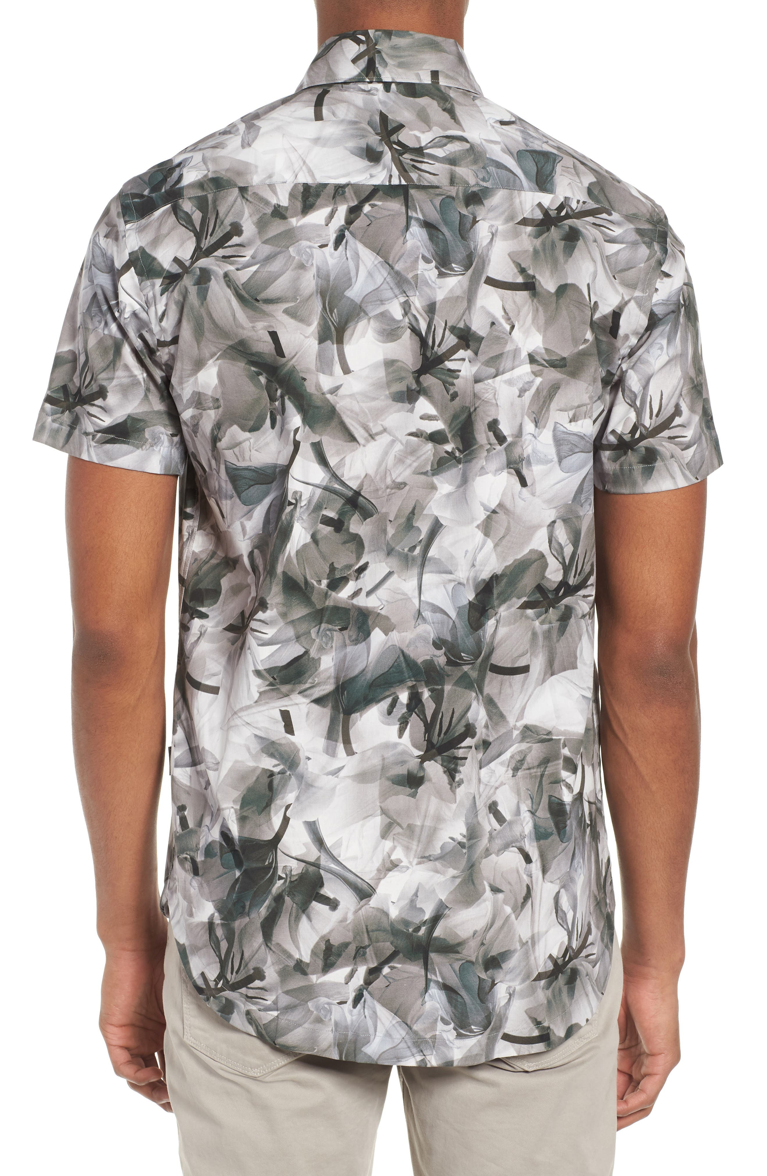 Cabana Regular Fit Sport Shirt,                             Alternate thumbnail 3, color,                             Floral X-Ray