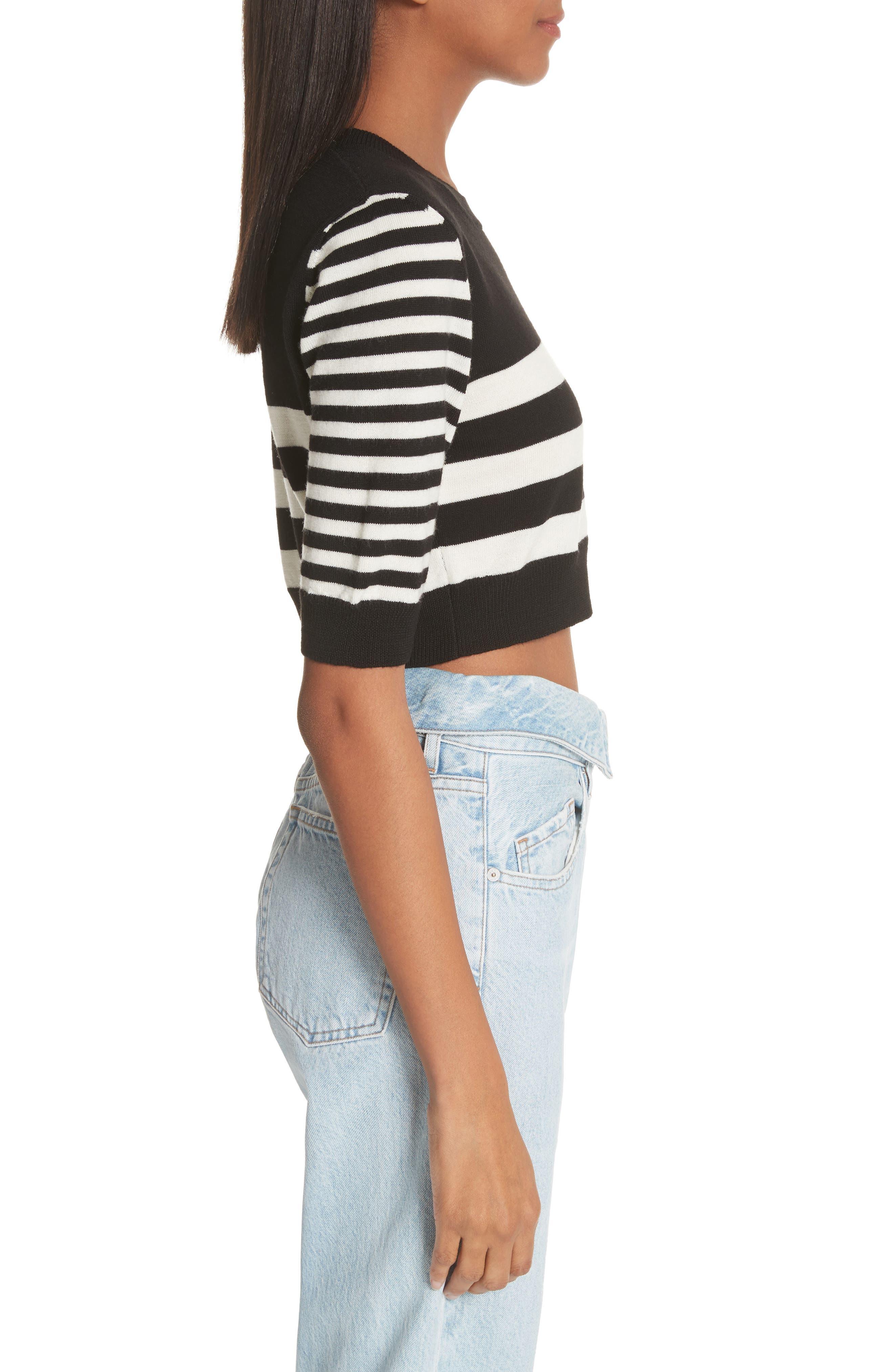 Love Stripe Crop Wool Sweater,                             Alternate thumbnail 3, color,                             Black/ White