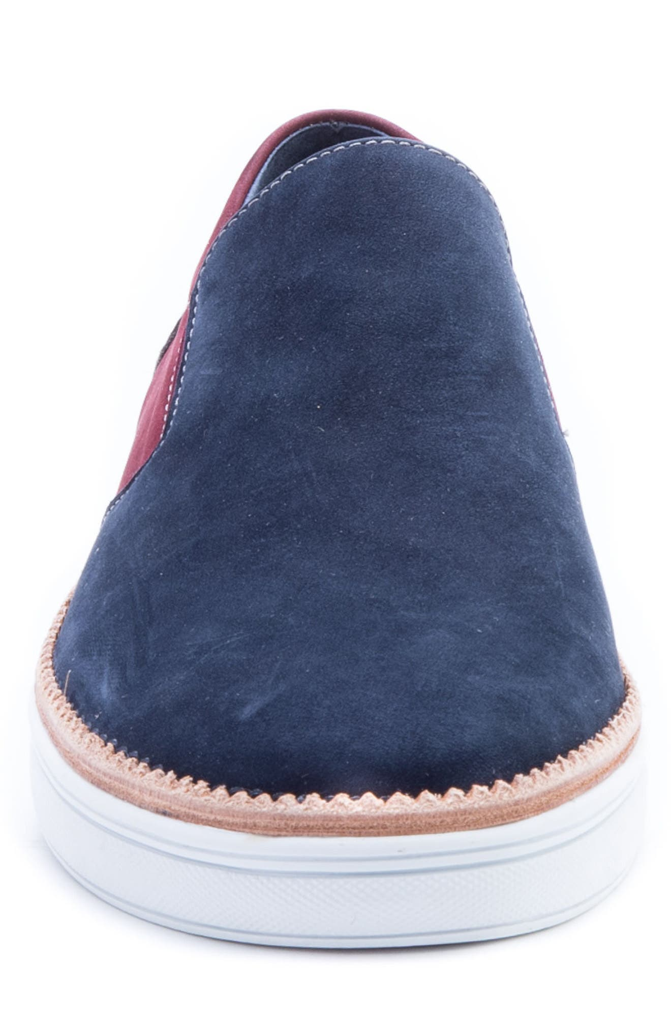 Rivera Colorblocked Slip-On Sneaker,                             Alternate thumbnail 4, color,                             Navy Suede