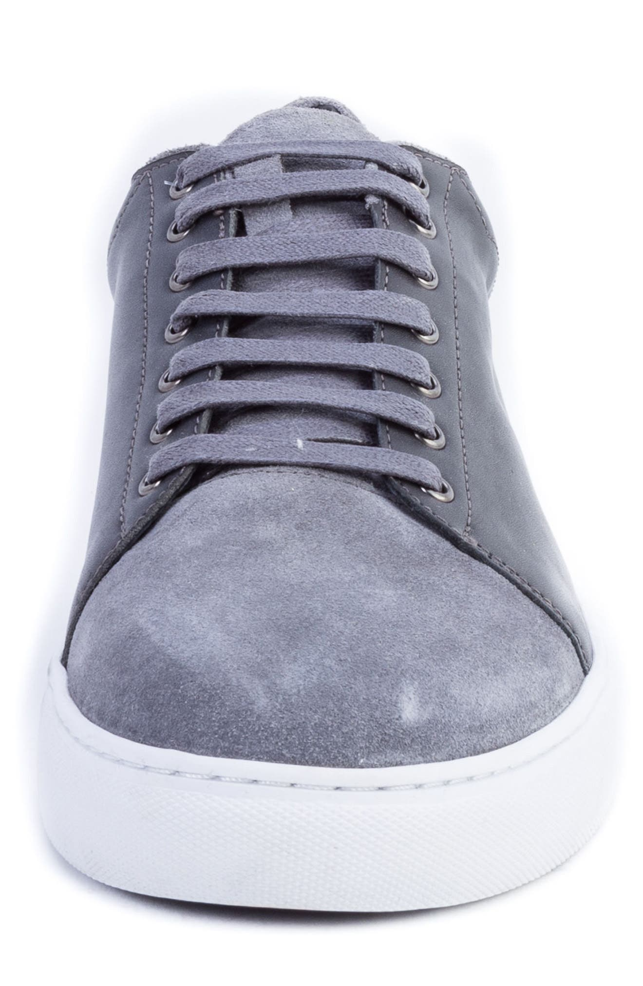 Record Low Top Sneaker,                             Alternate thumbnail 4, color,                             Grey Suede/ Leather