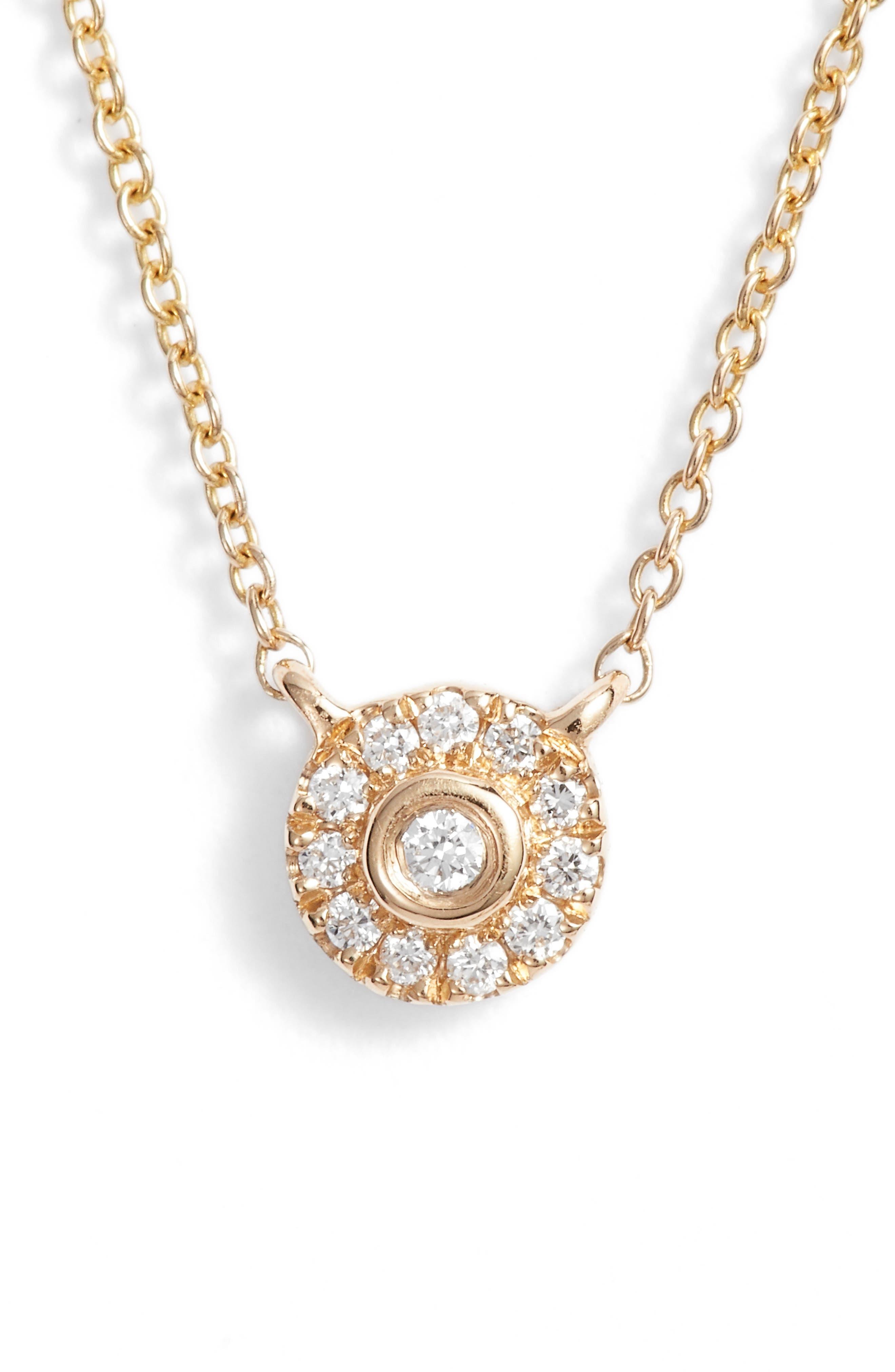 Lauren Joy Mini Diamond Disc Necklace,                             Main thumbnail 1, color,                             Yellow Gold