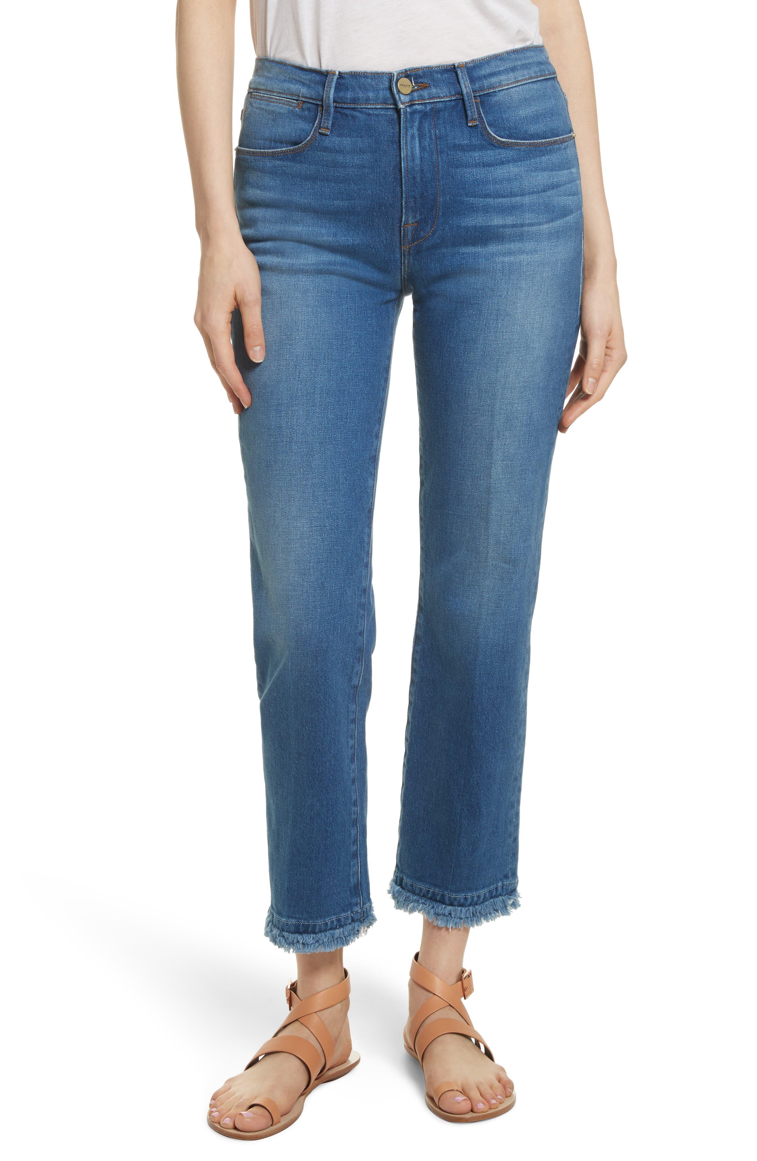 Le High Double Raw Edge High Waist Jeans,                             Main thumbnail 1, color,                             Whitway