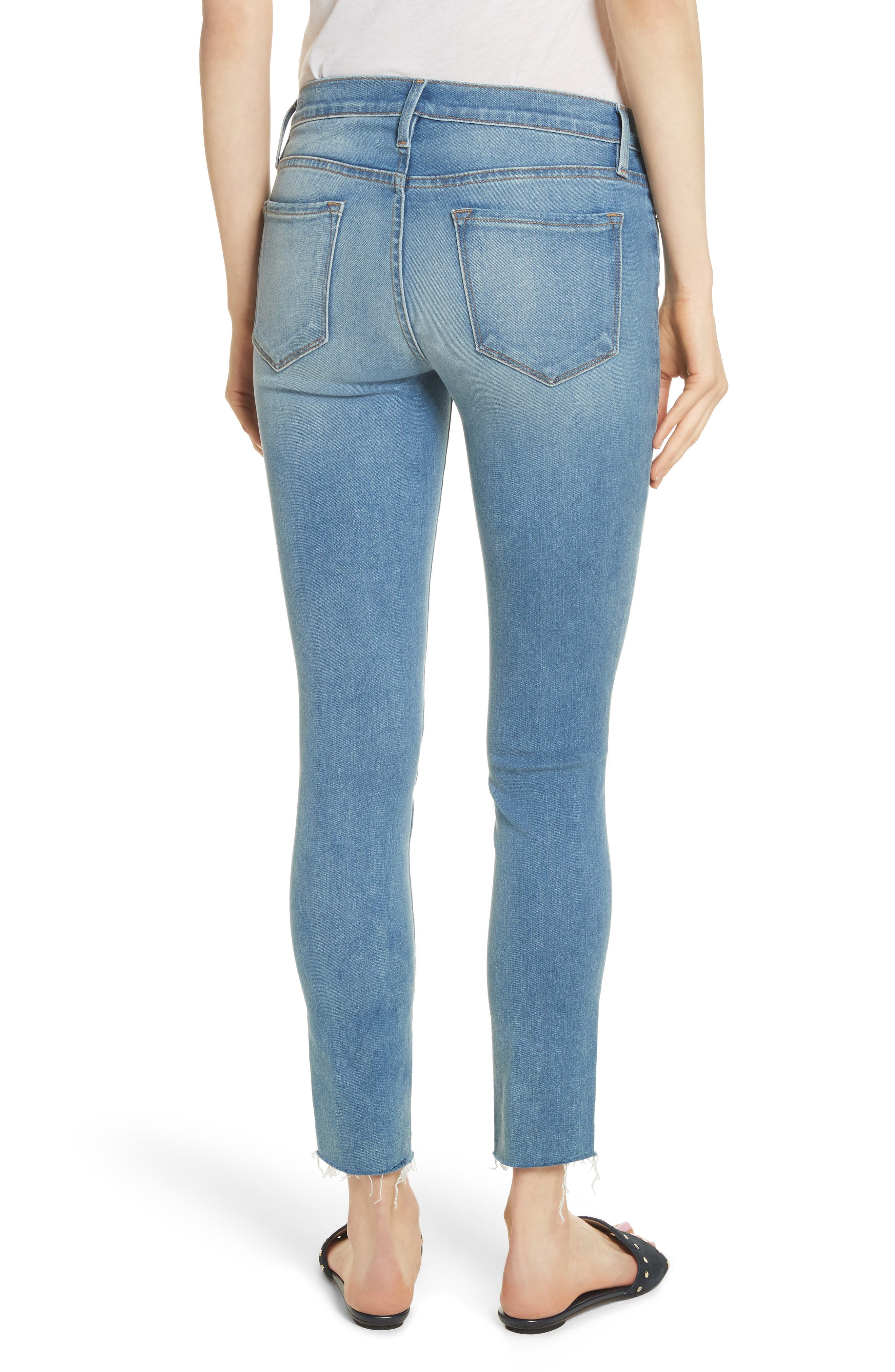 Le Skinny de Jeanne Raw Edge Crop Skinny Jeans,                             Alternate thumbnail 2, color,                             Stanwell