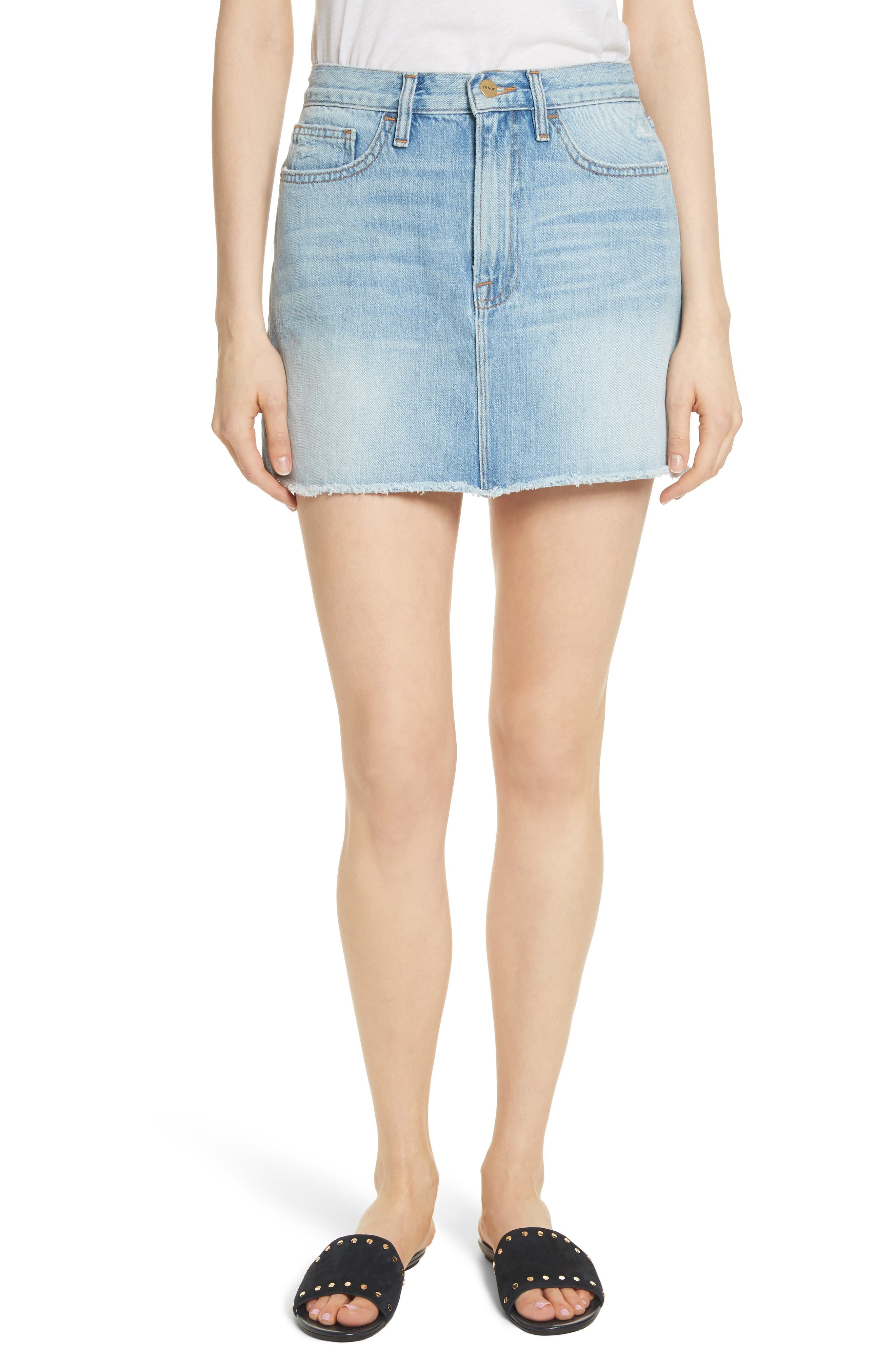 FRAME Le Mini Raw Edge Denim Skirt (Ryde)