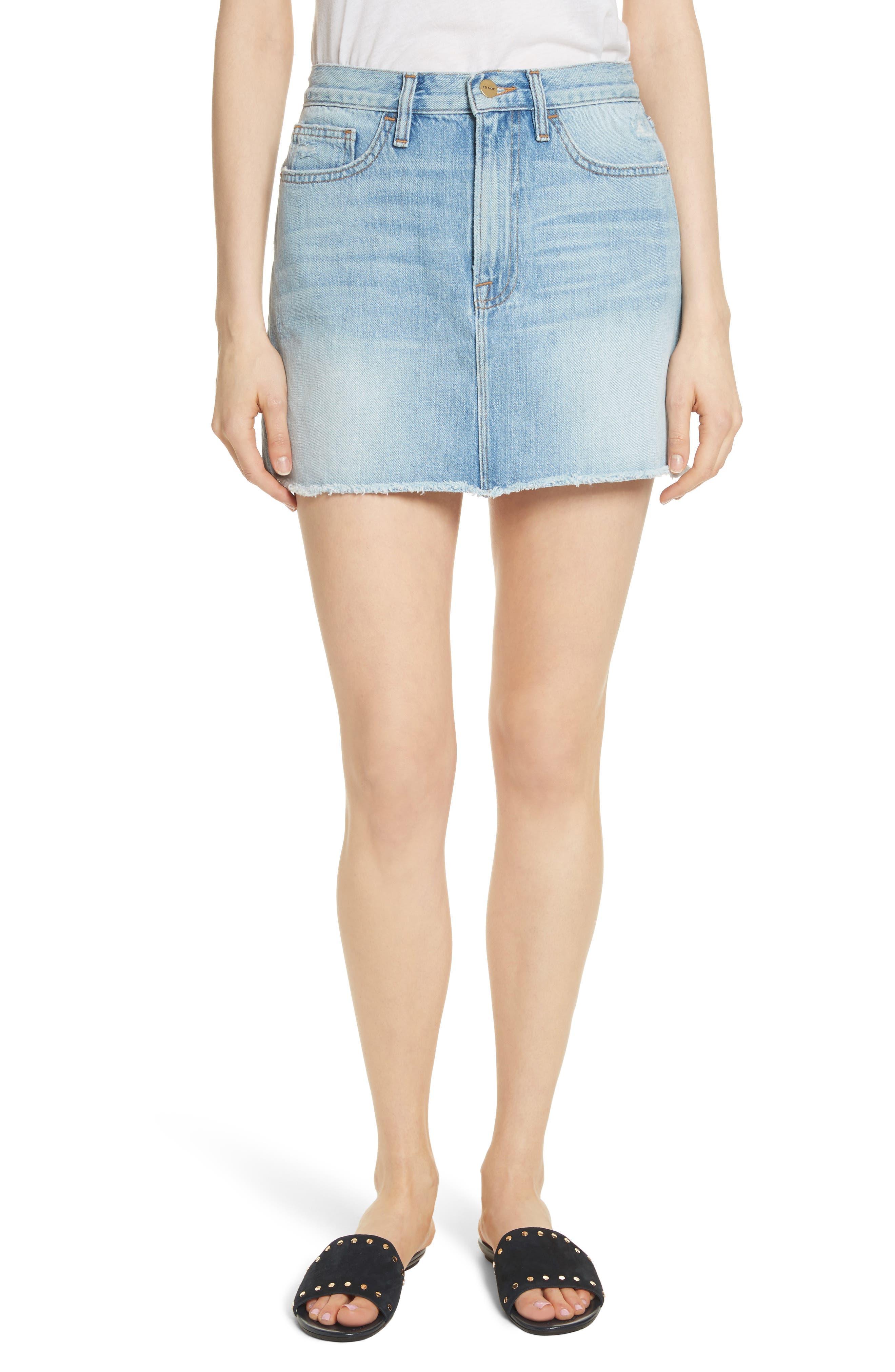 FRAME Le Mini Raw Edge Denim Skirt (Ryde)