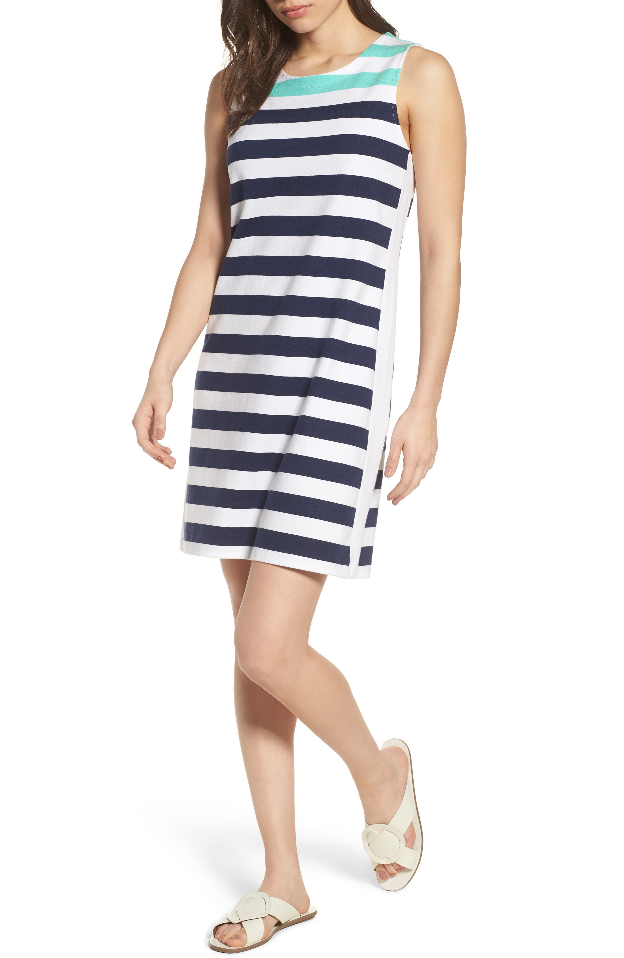Alternate Image 1 Selected - vineyard vines Contrast Stripe Sleeveless Cotton Knit Dress