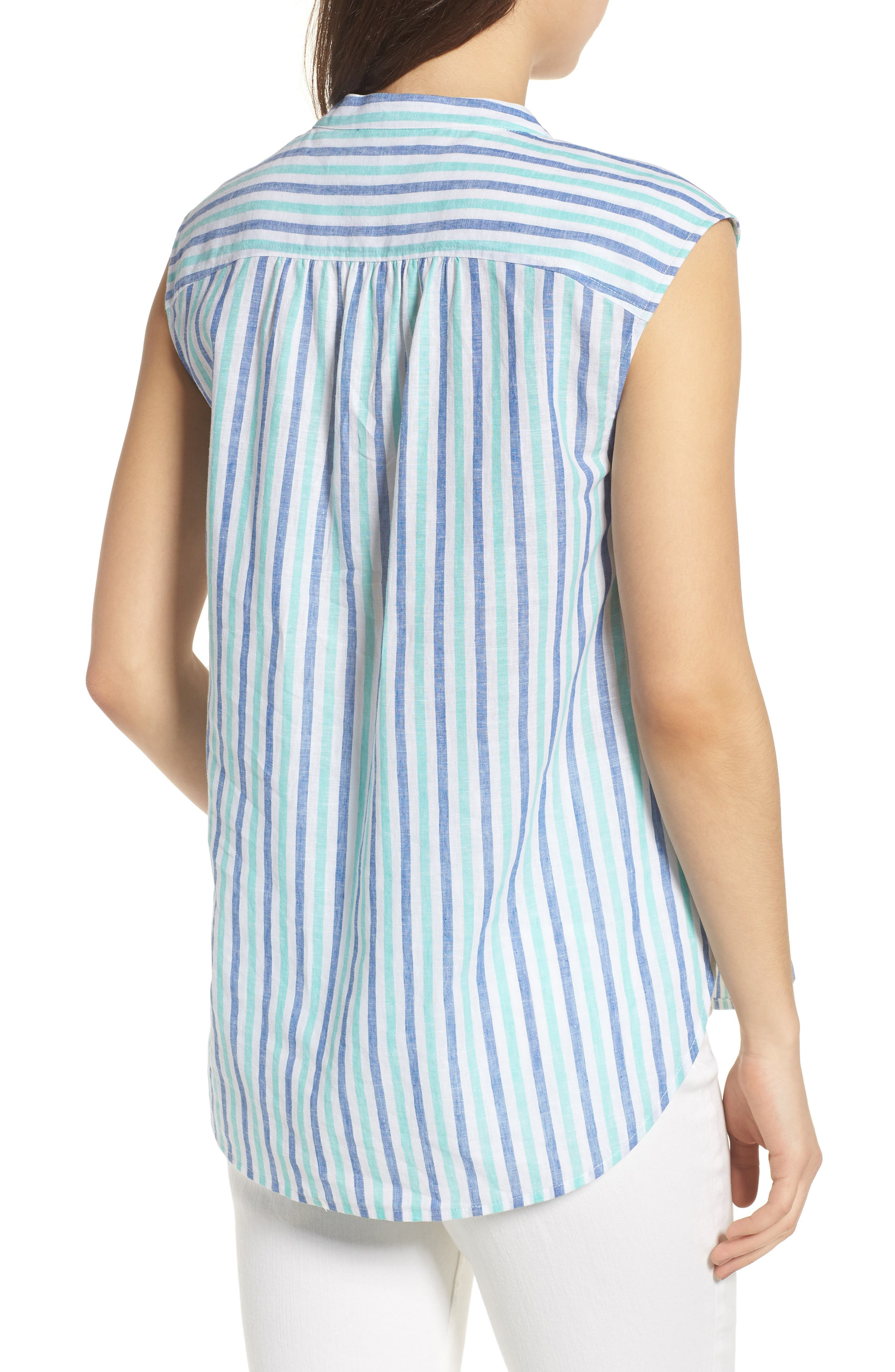 Hope Bay Linen Cotton Stripe Top,                             Alternate thumbnail 2, color,                             Capri Blue