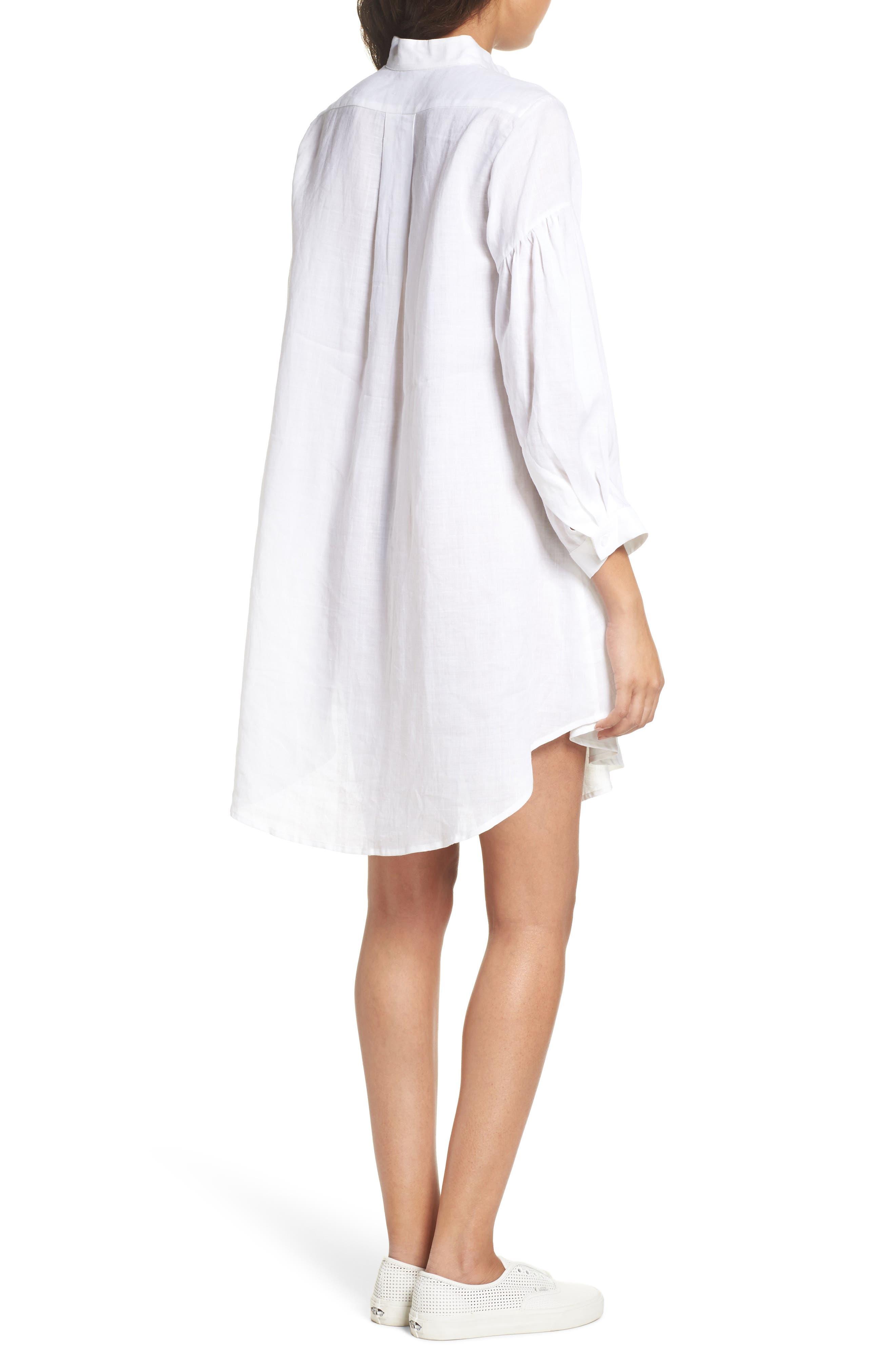 Tria Linen Shirtdress,                             Alternate thumbnail 2, color,                             White