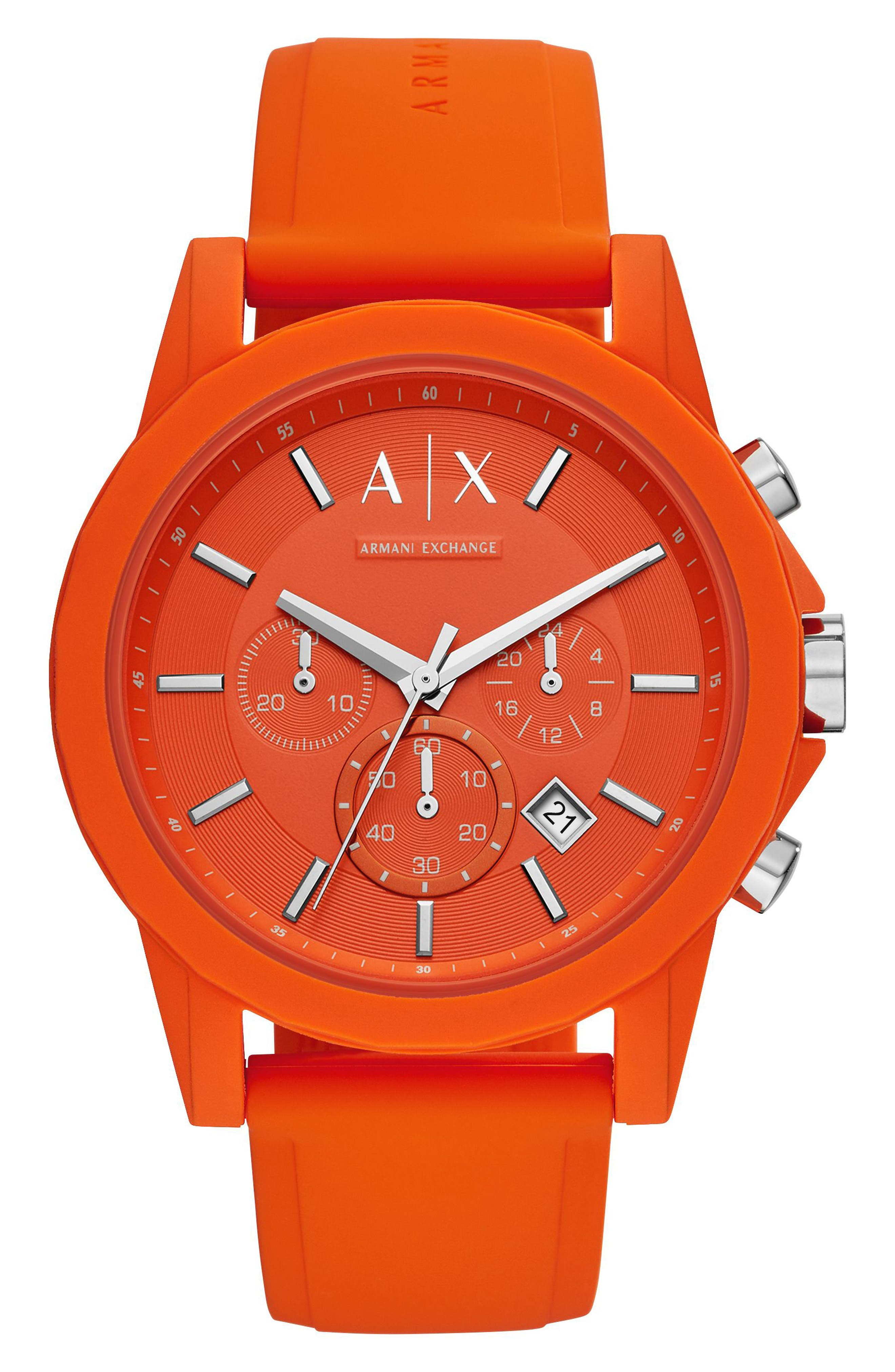 AX Armani Exchange Chronograph Silicone Strap Watch, 47mm