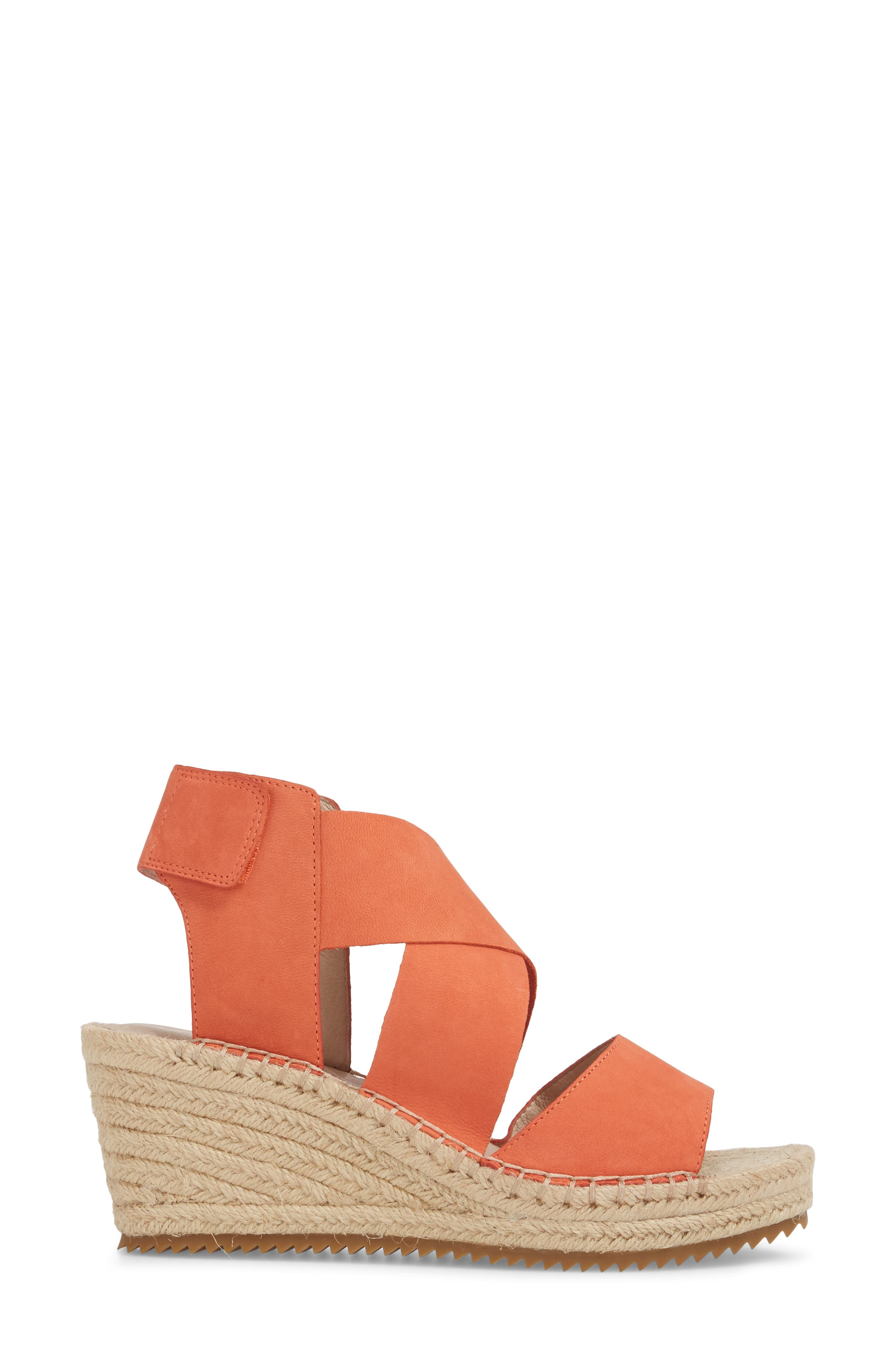 'Willow' Espadrille Wedge Sandal,                             Alternate thumbnail 3, color,                             Persimmon Leather