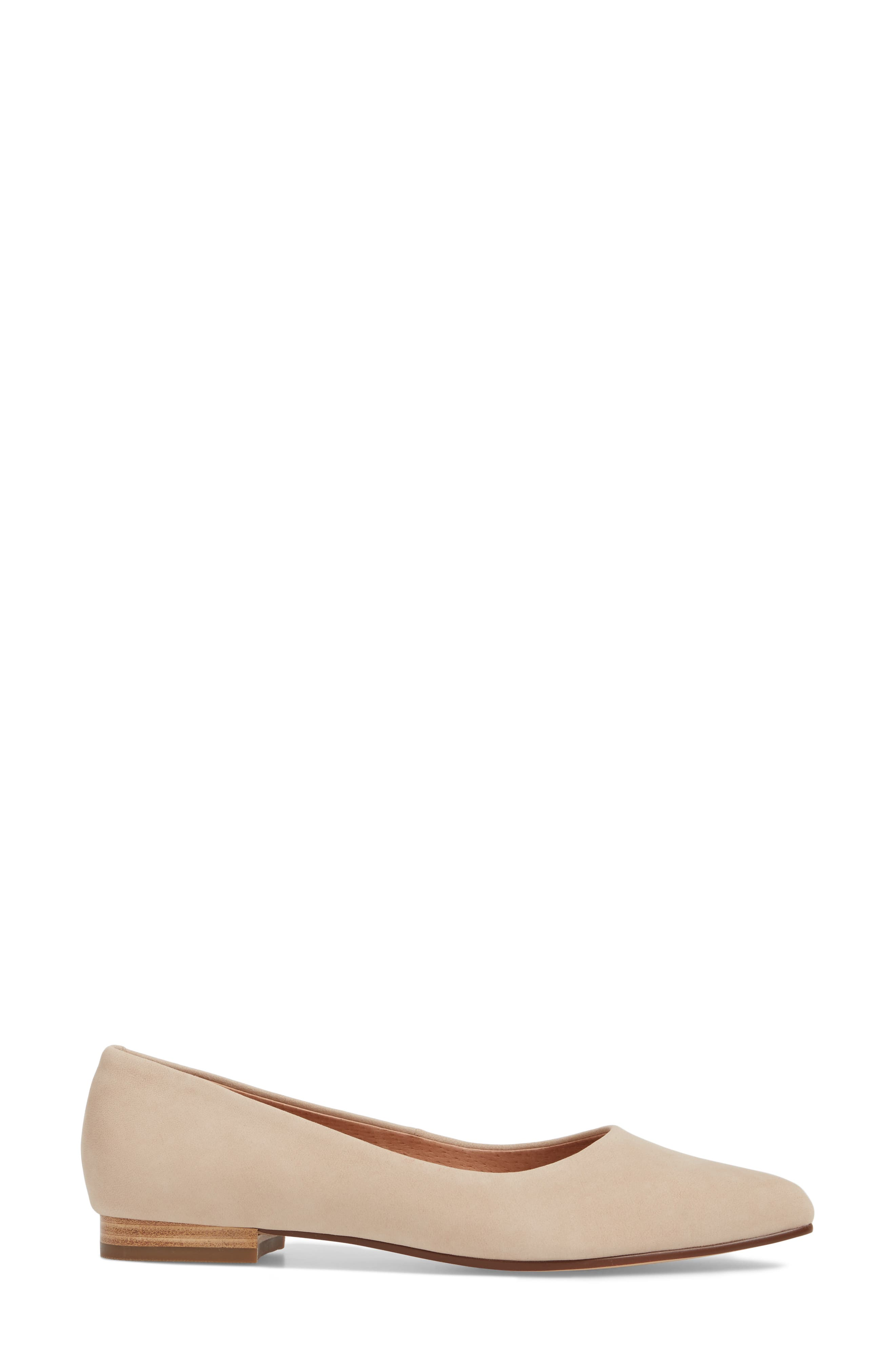 Luna Pointy Toe Flat,                             Alternate thumbnail 3, color,                             Nude Nubuck