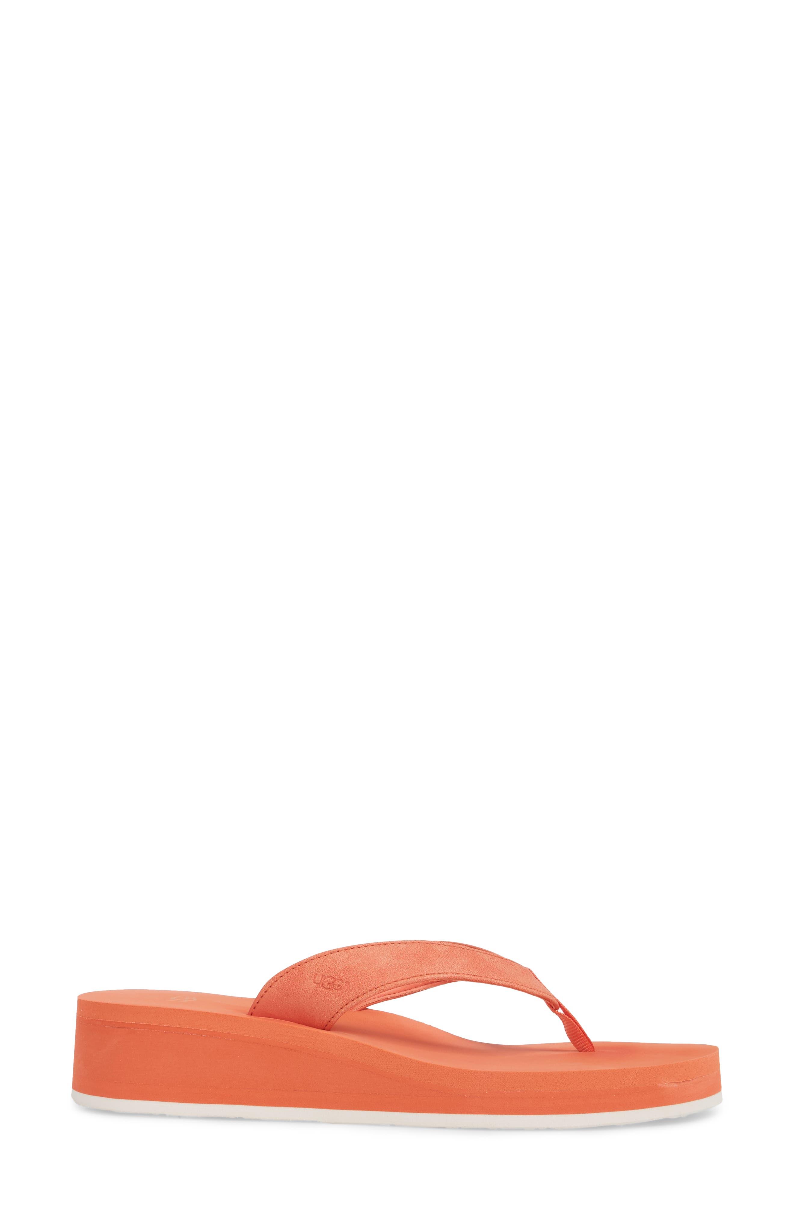 Dani Wedge Flip Flop,                             Alternate thumbnail 3, color,                             Fusion Coral
