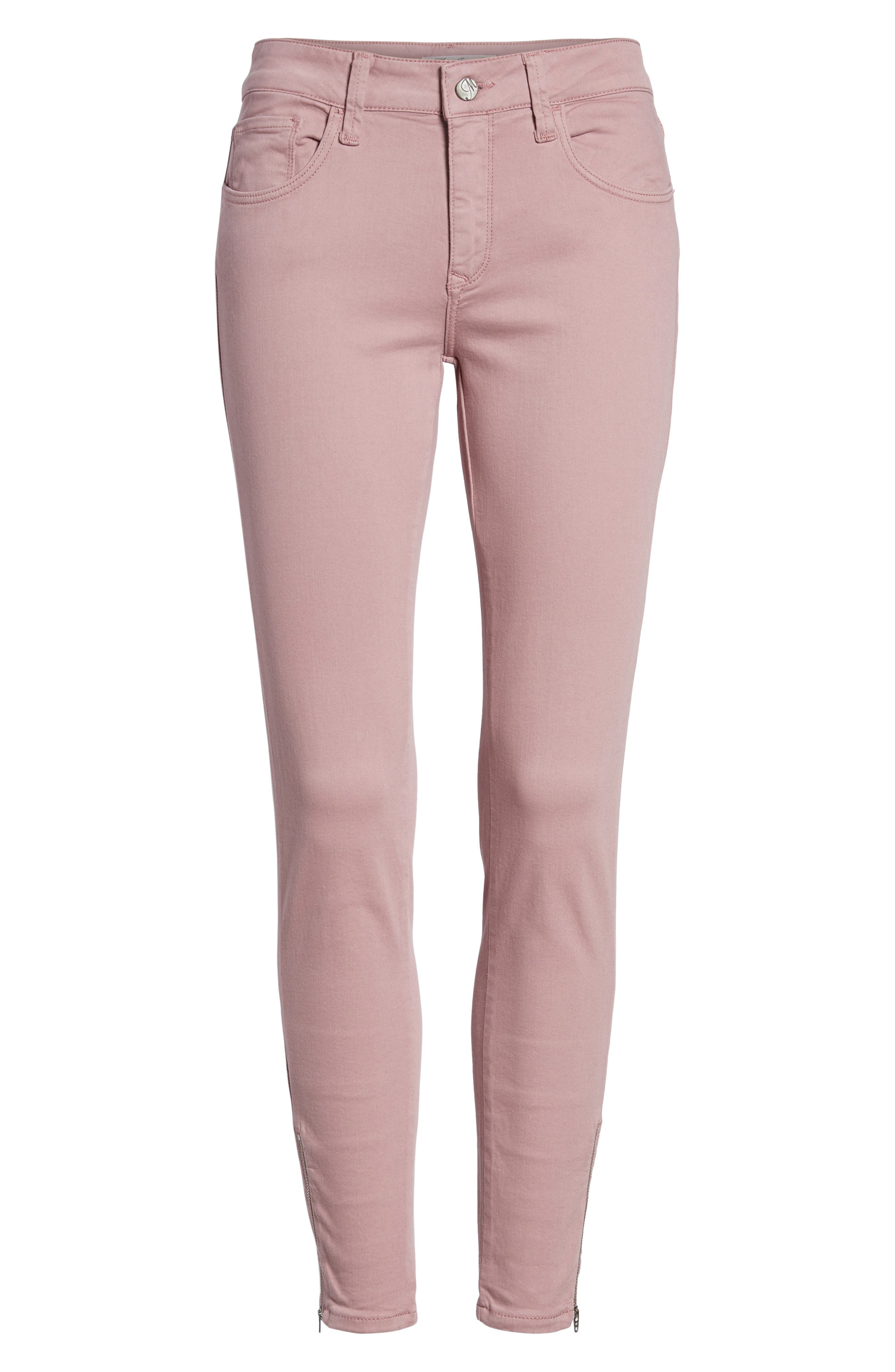 Adriana Zip Ankle Super Skinny Jeans,                             Alternate thumbnail 7, color,                             Zip Light Rose Twill