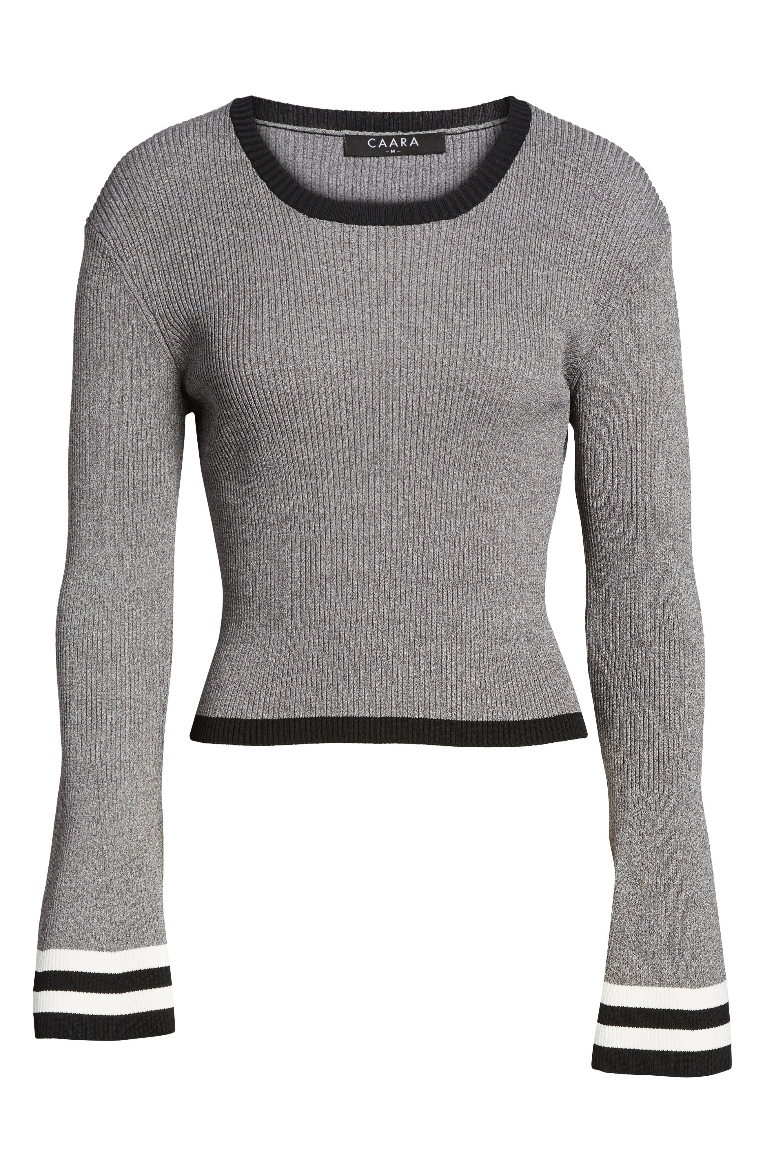 Bell Sleeve Crop Sweater,                             Alternate thumbnail 6, color,                             Grey