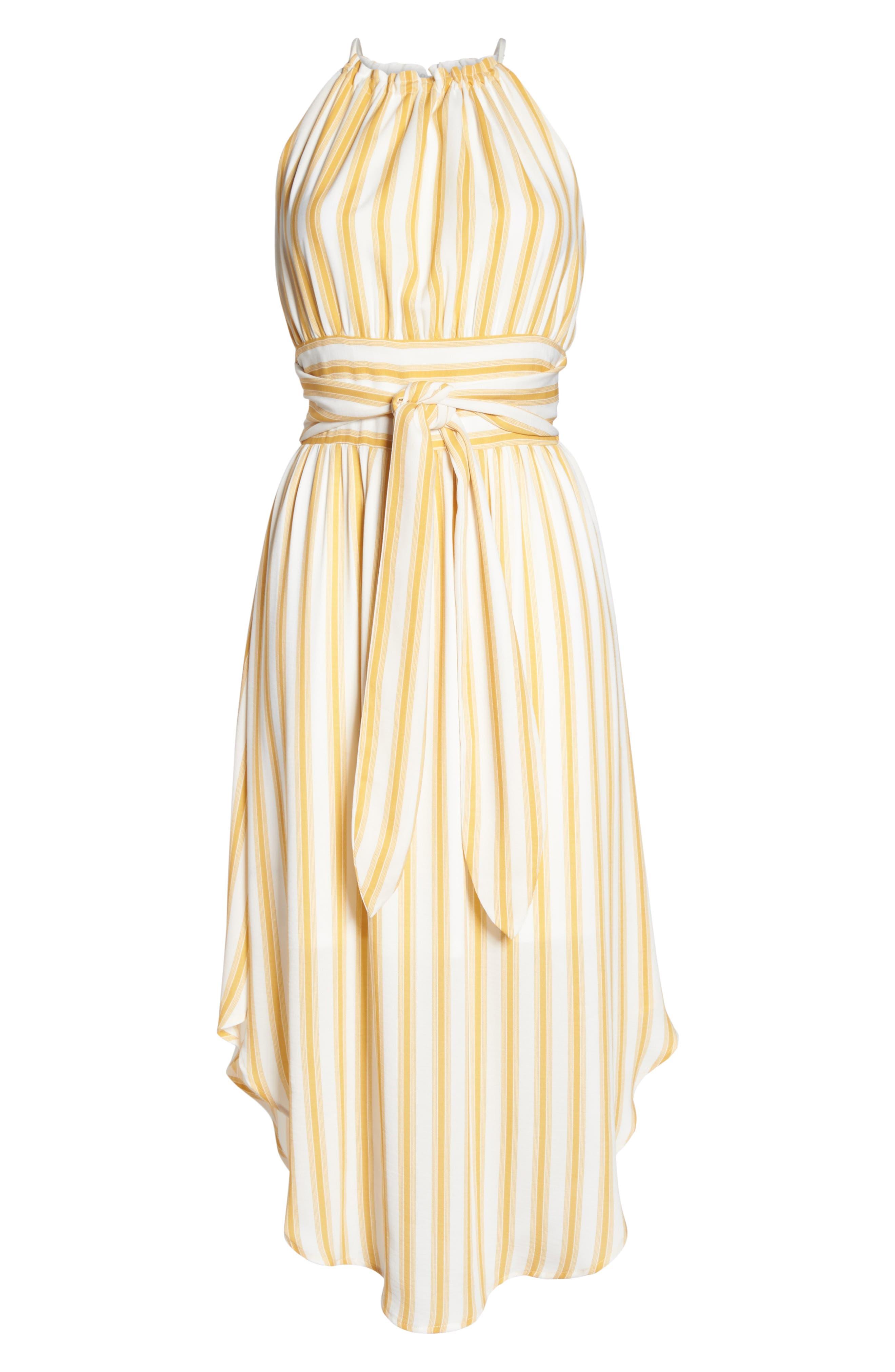 Leena Stripe Midi Dress,                             Alternate thumbnail 6, color,                             Mustard