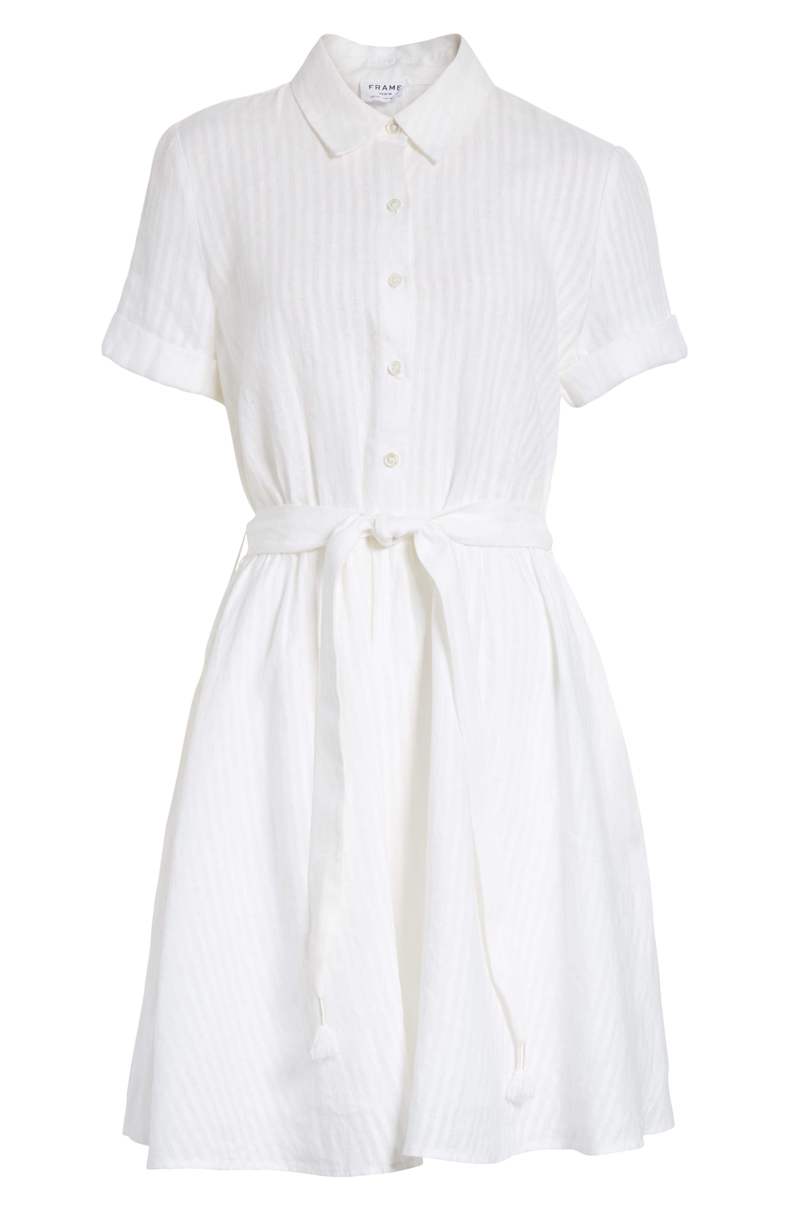 Belted Linen Dress,                             Alternate thumbnail 6, color,                             Blanc