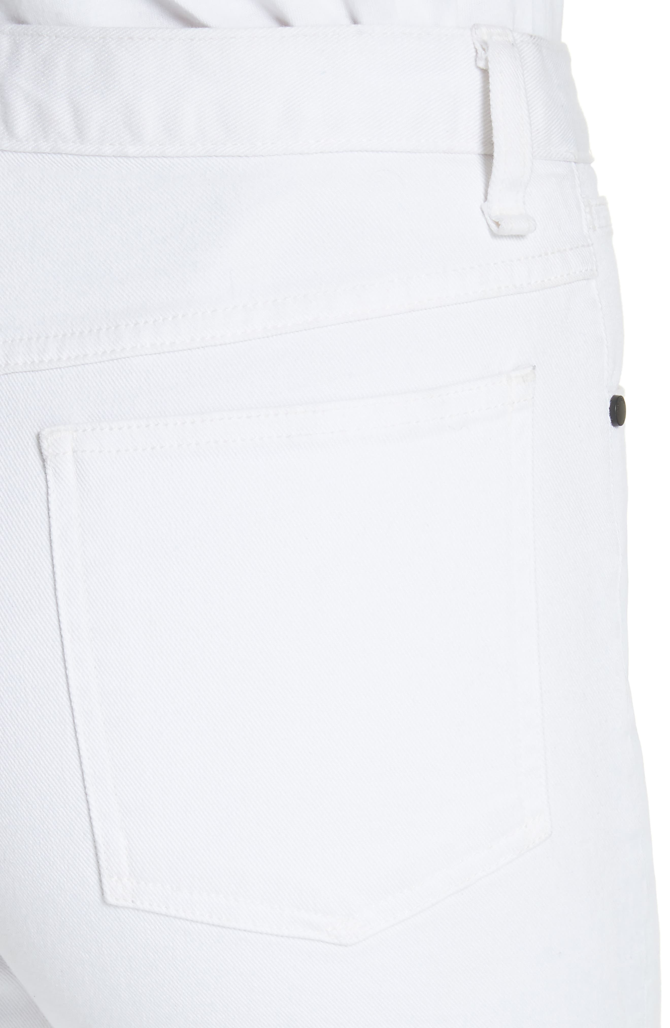 Justine High Waist Ankle Wide Leg Trouser Jeans,                             Alternate thumbnail 4, color,                             White