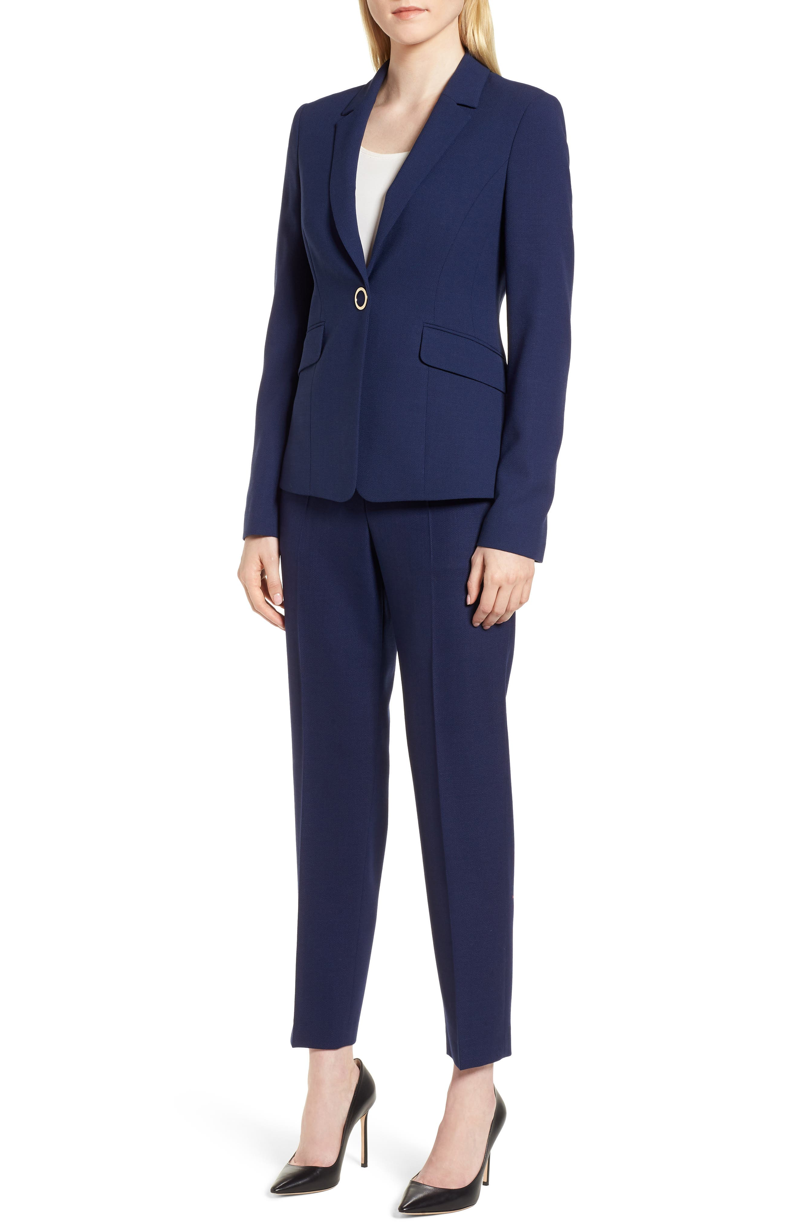 Jibalena Textured Stretch Wool Suit Jacket,                             Alternate thumbnail 5, color,                             Nautical