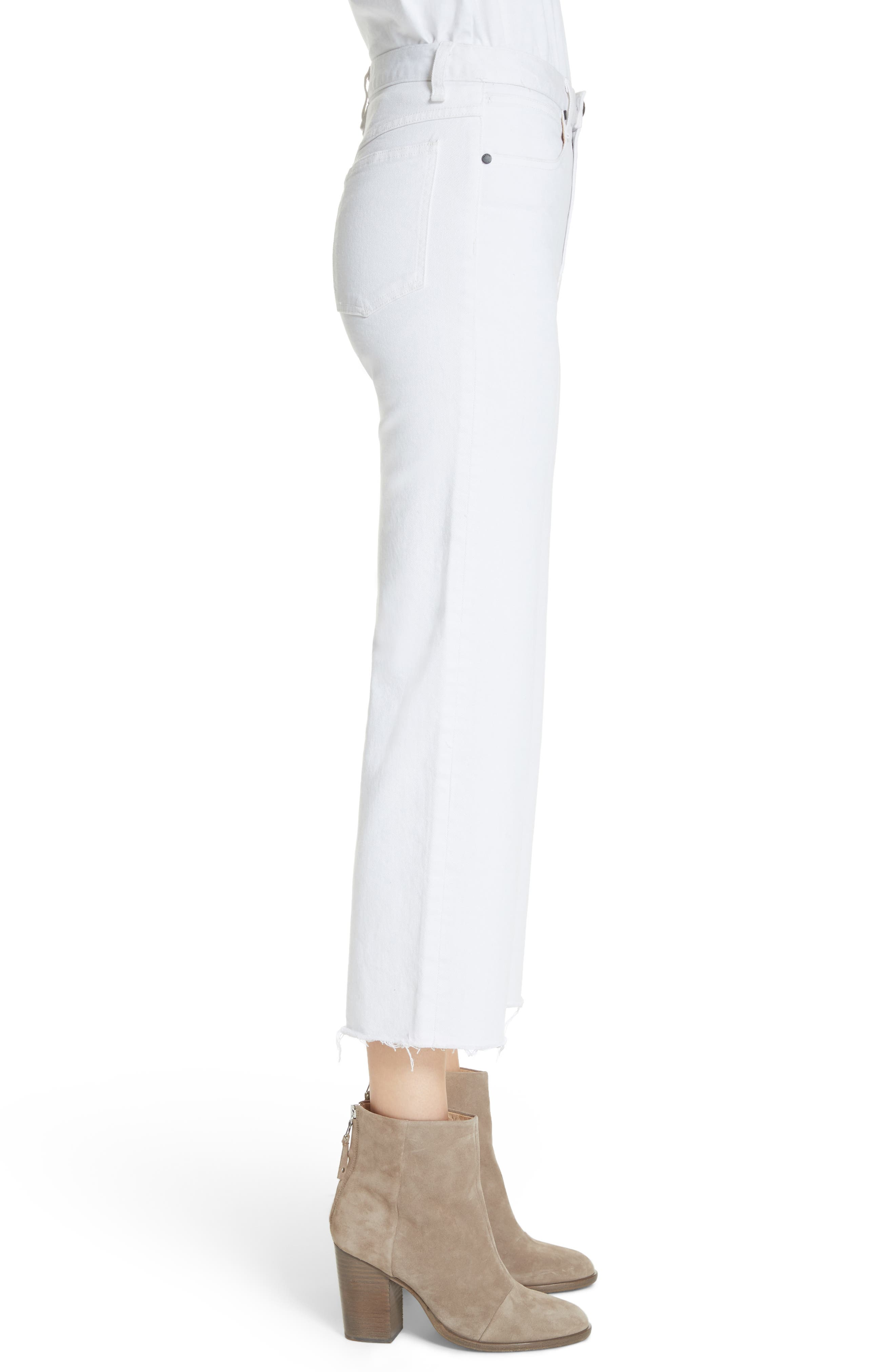 Justine High Waist Ankle Wide Leg Trouser Jeans,                             Alternate thumbnail 3, color,                             White