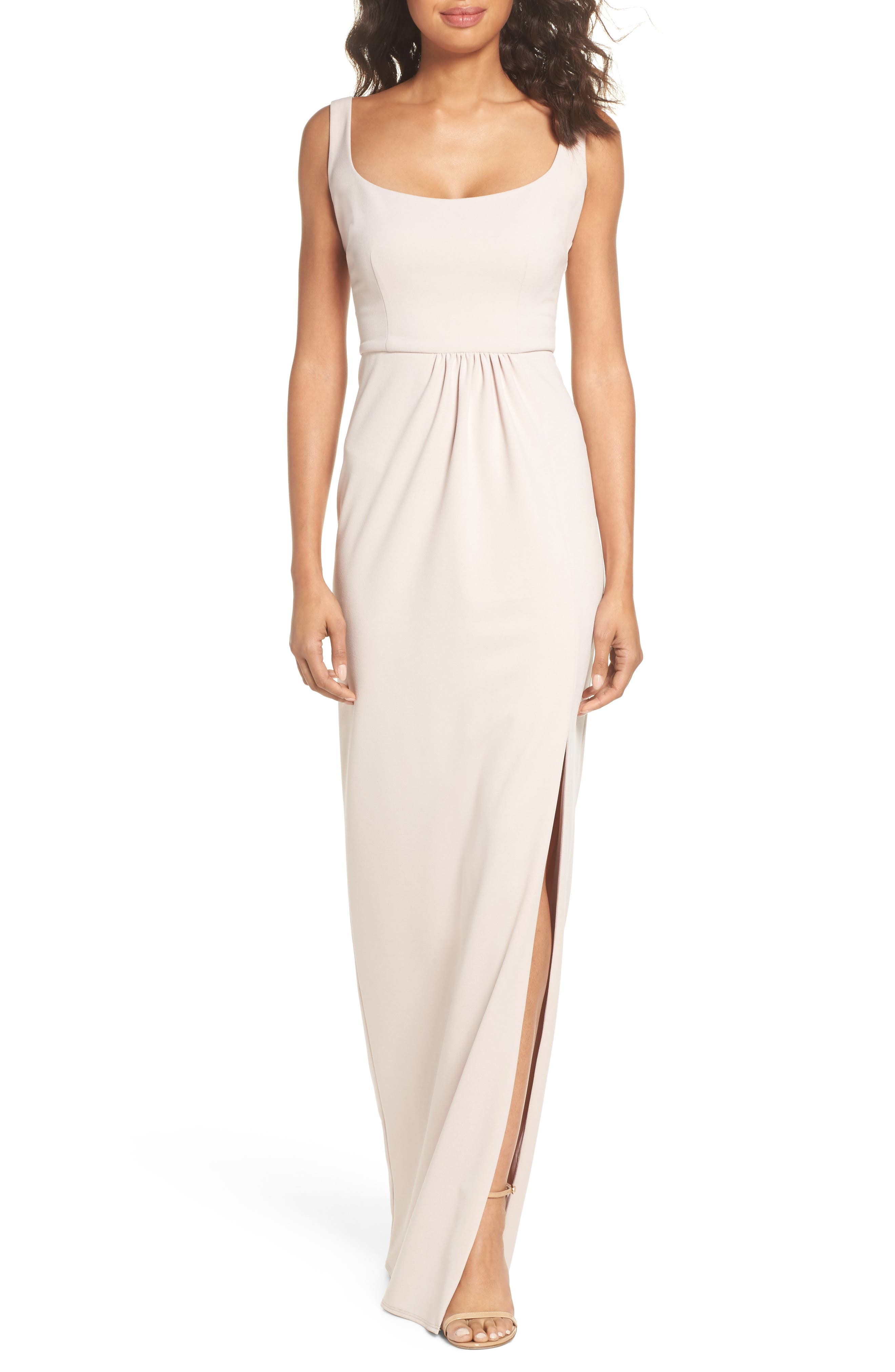 Katie May Open Back Scoop Neck Gown