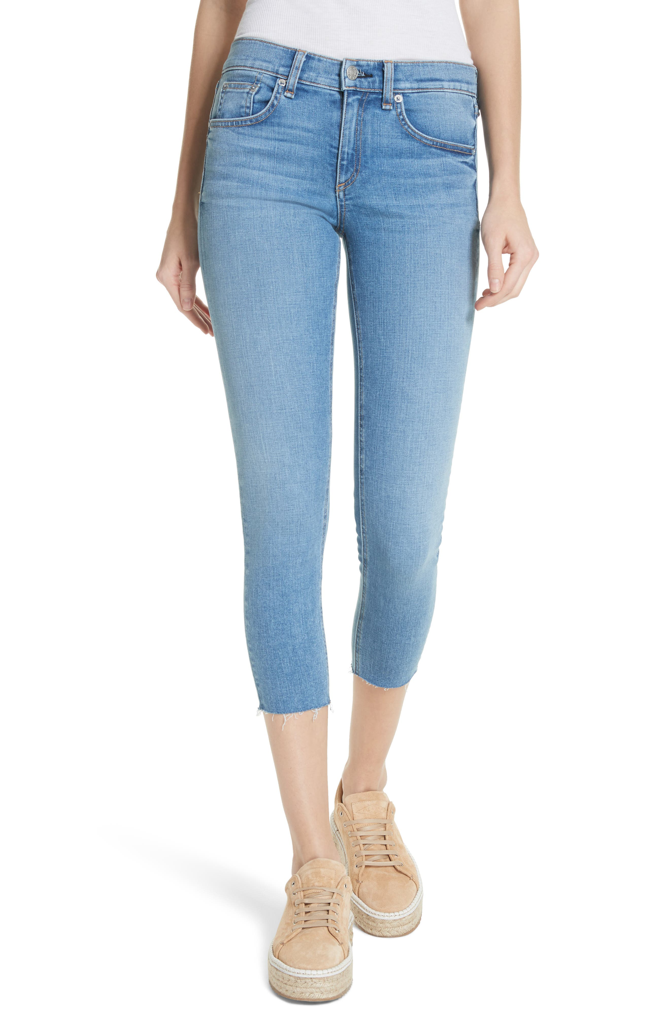 Raw Hem Capri Skinny Jeans,                             Main thumbnail 1, color,                             Levee