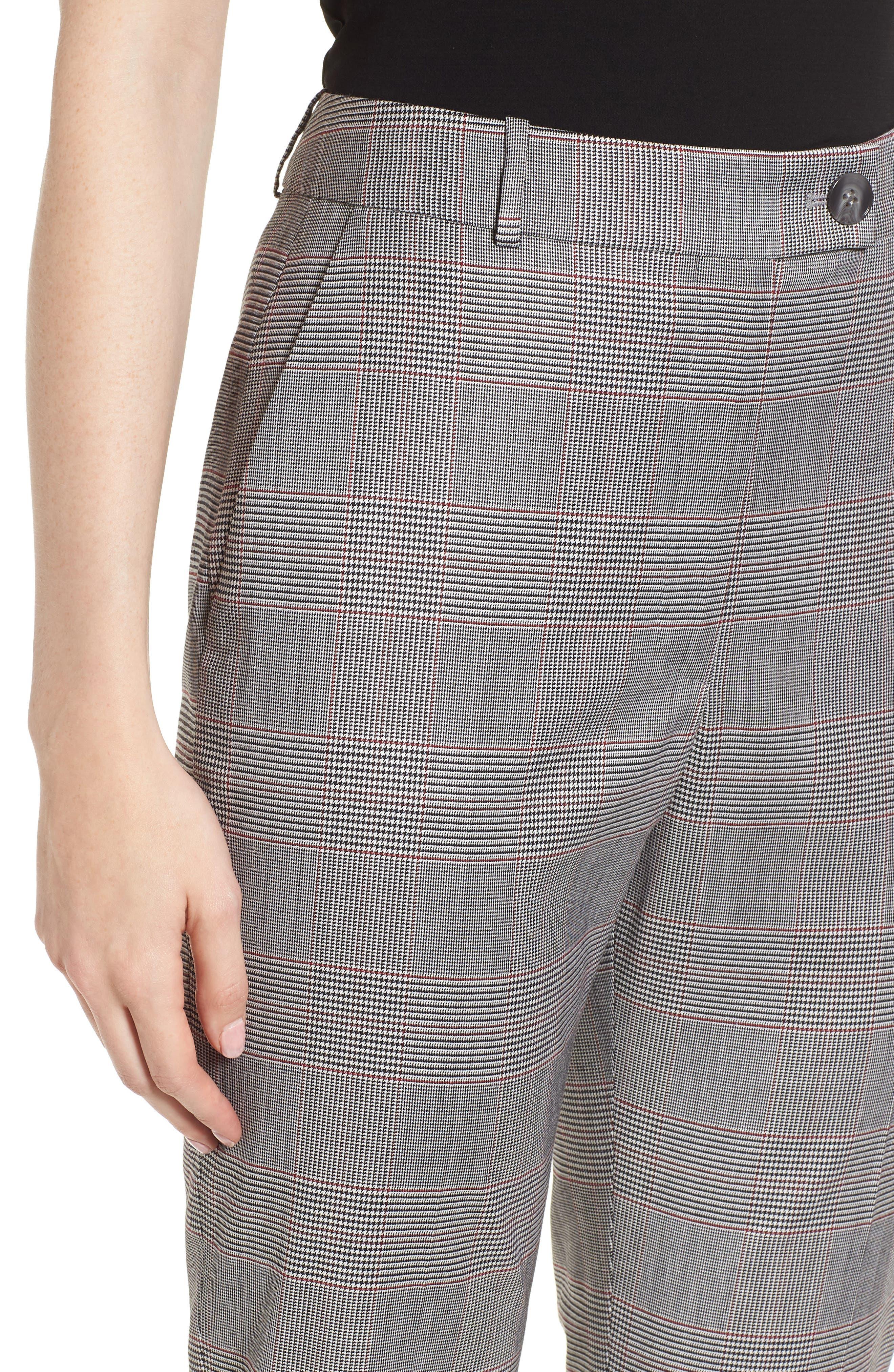 Tofilia Glencheck Slim Fit Trousers,                             Alternate thumbnail 4, color,                             Dark Sunset Orange Fantasy
