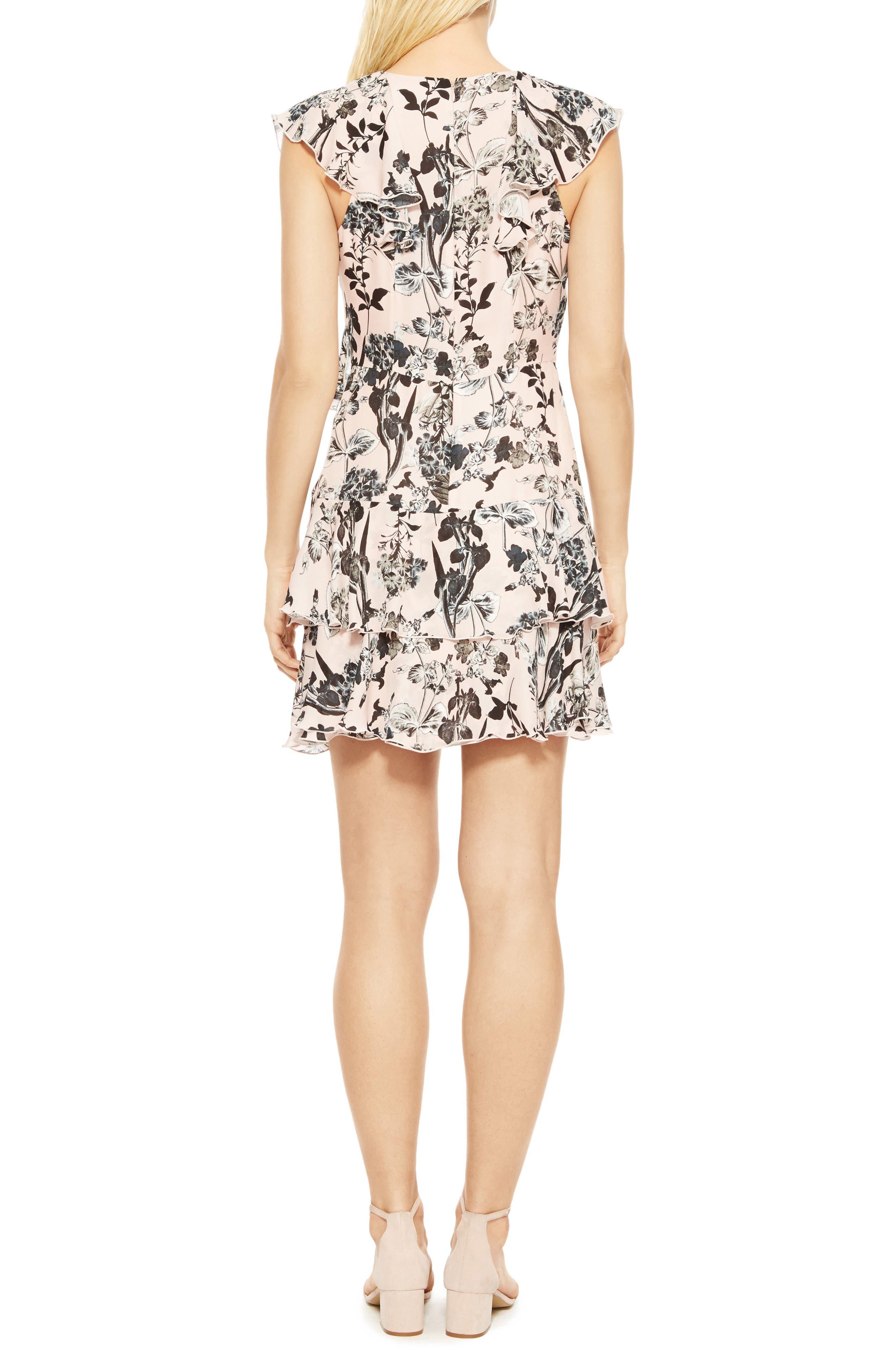 Dorthy Floral Silk Dress,                             Alternate thumbnail 2, color,                             Pearl Paradise