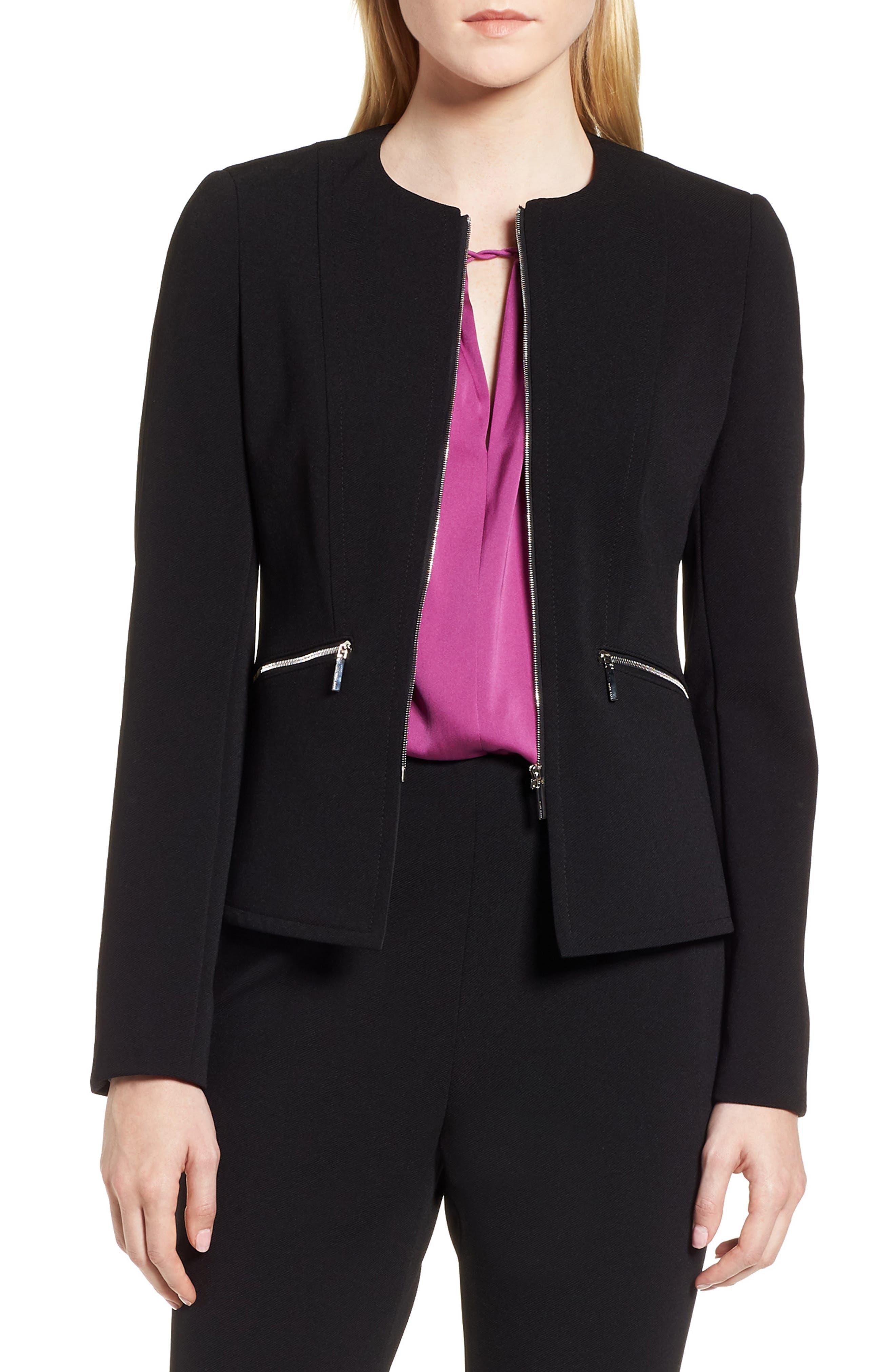 Jazulara Twill Jersey Suit Jacket,                         Main,                         color, Black