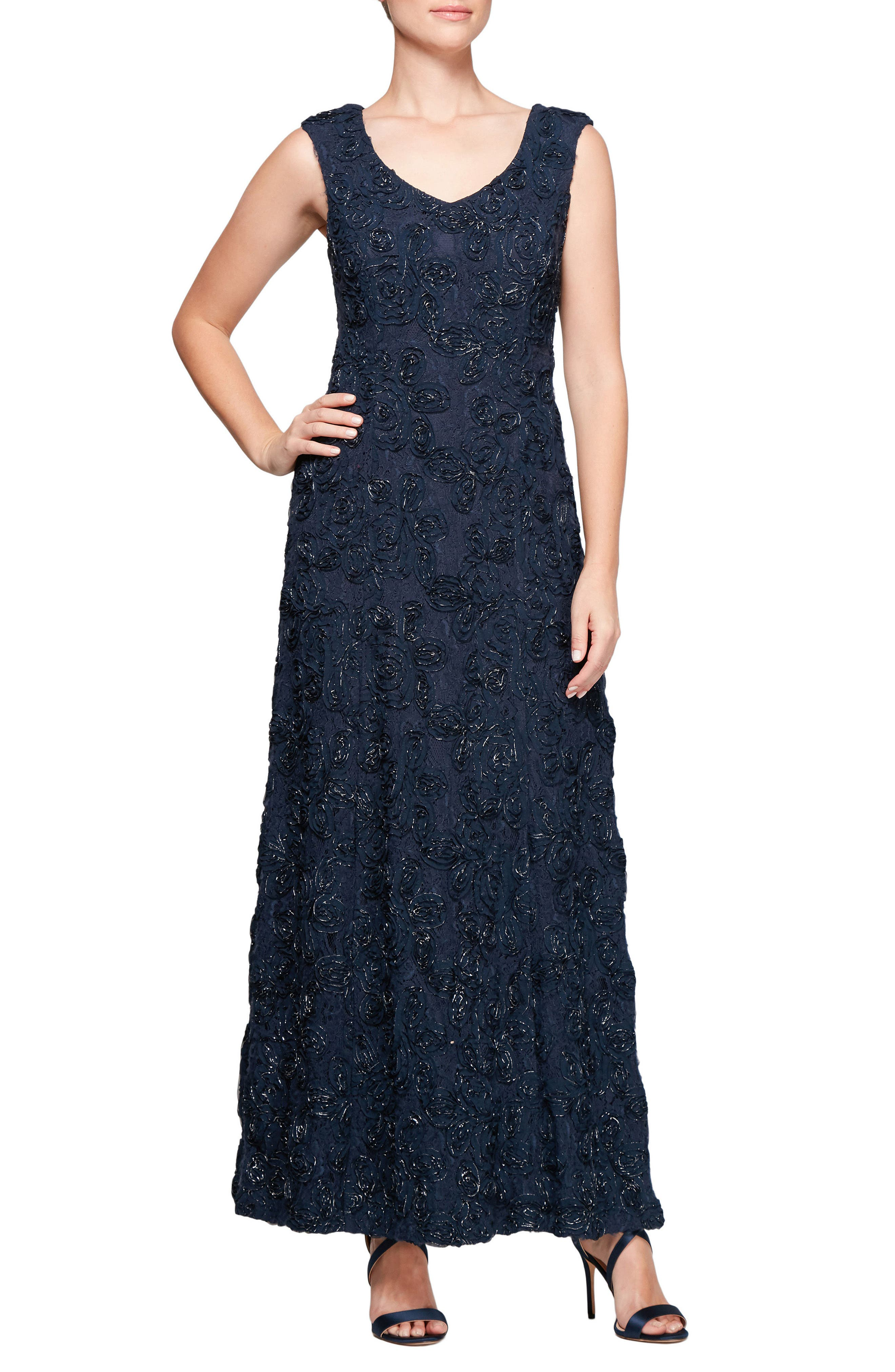 Beaded Rosette Lace Gown,                         Main,                         color, Navy