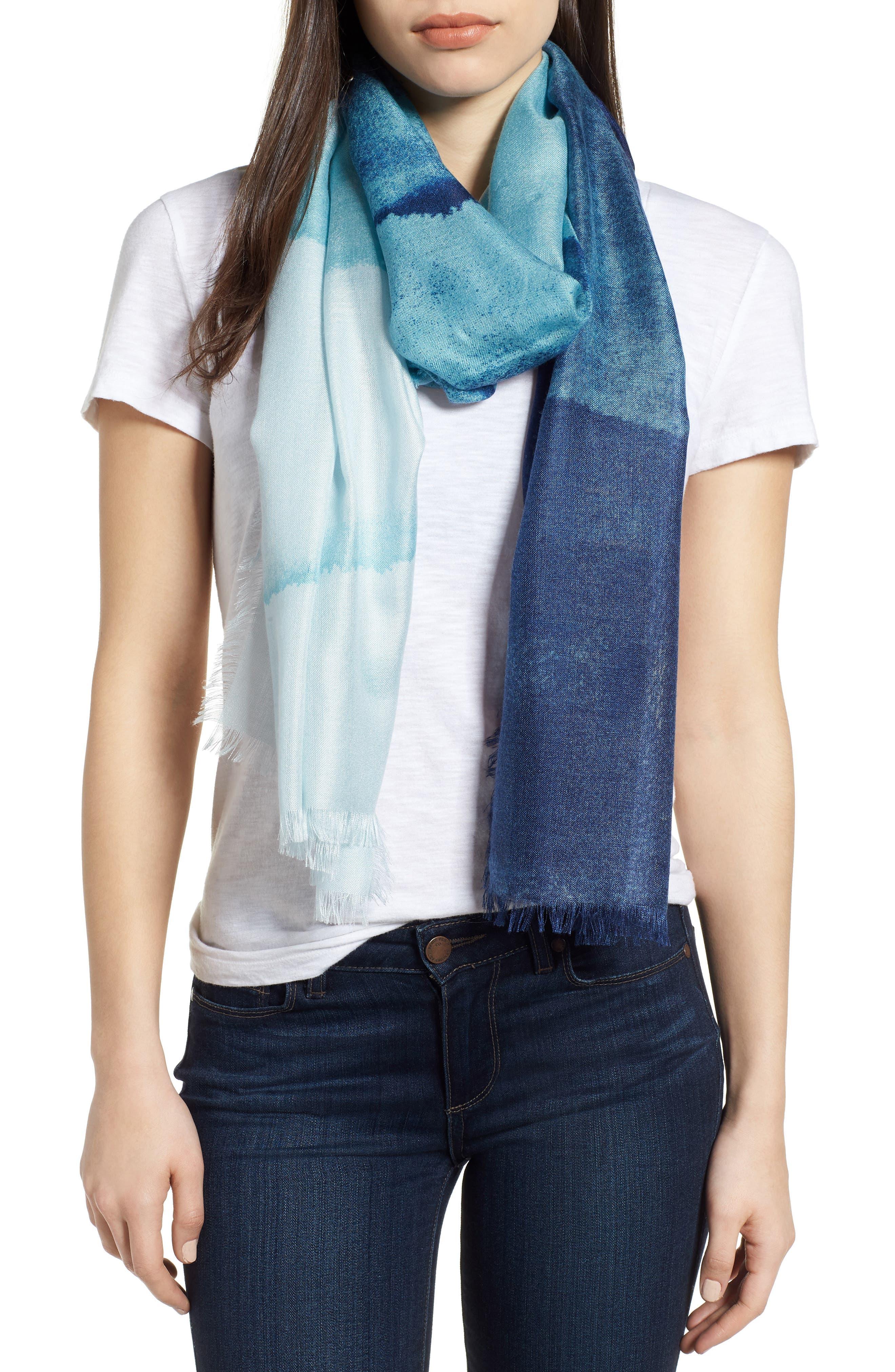 Eyelash Trim Print Cashmere & Silk Wrap,                         Main,                         color, Teal Painterly Landscape