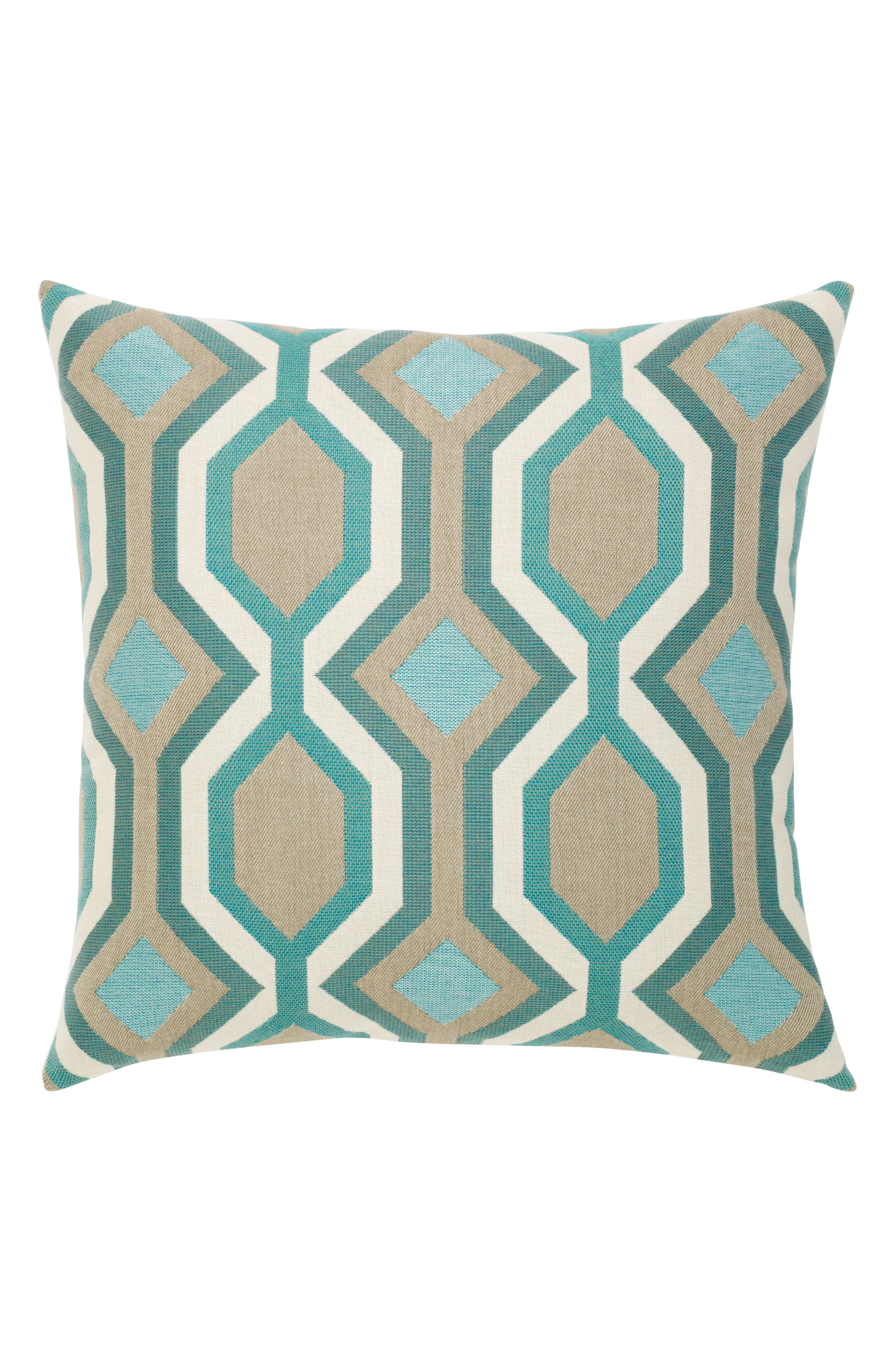 Turquoise Geo Indoor/Outdoor Accent Pillow,                             Main thumbnail 1, color,                             Blue/ Brown