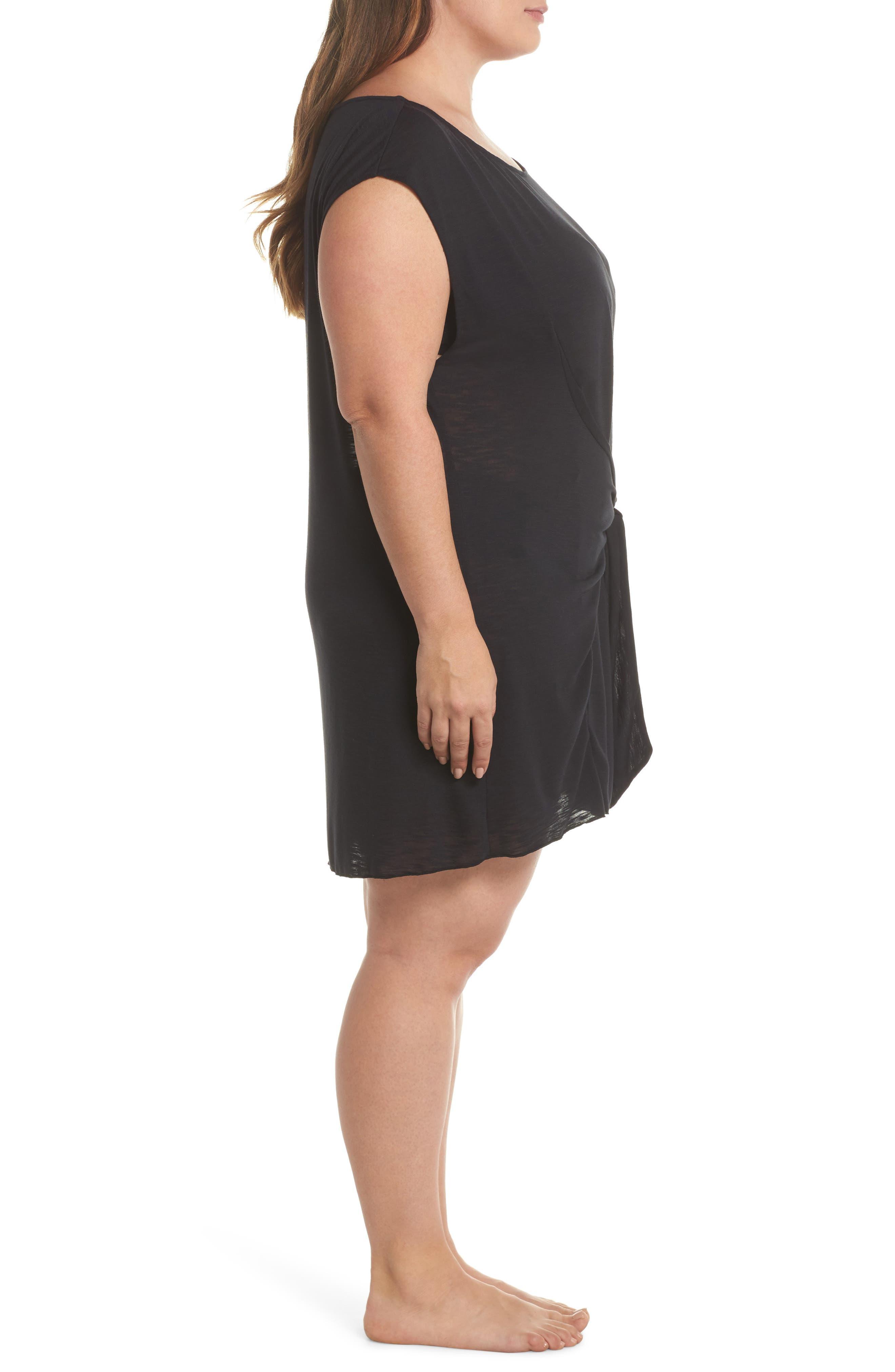 Breezy Basic Cover-Up Dress,                             Alternate thumbnail 3, color,                             Black