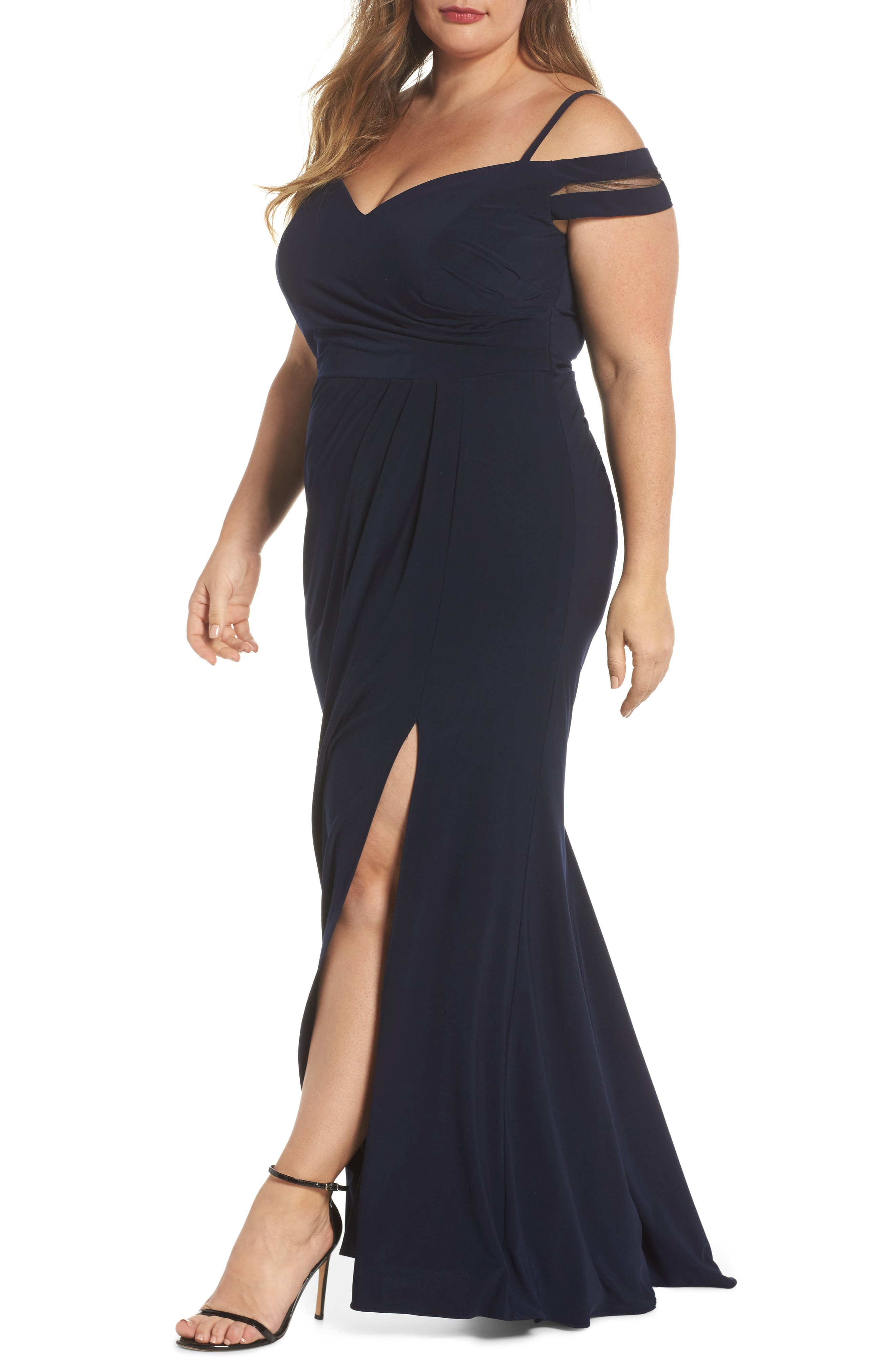 Off the Shoulder Gown,                             Main thumbnail 1, color,                             Navy