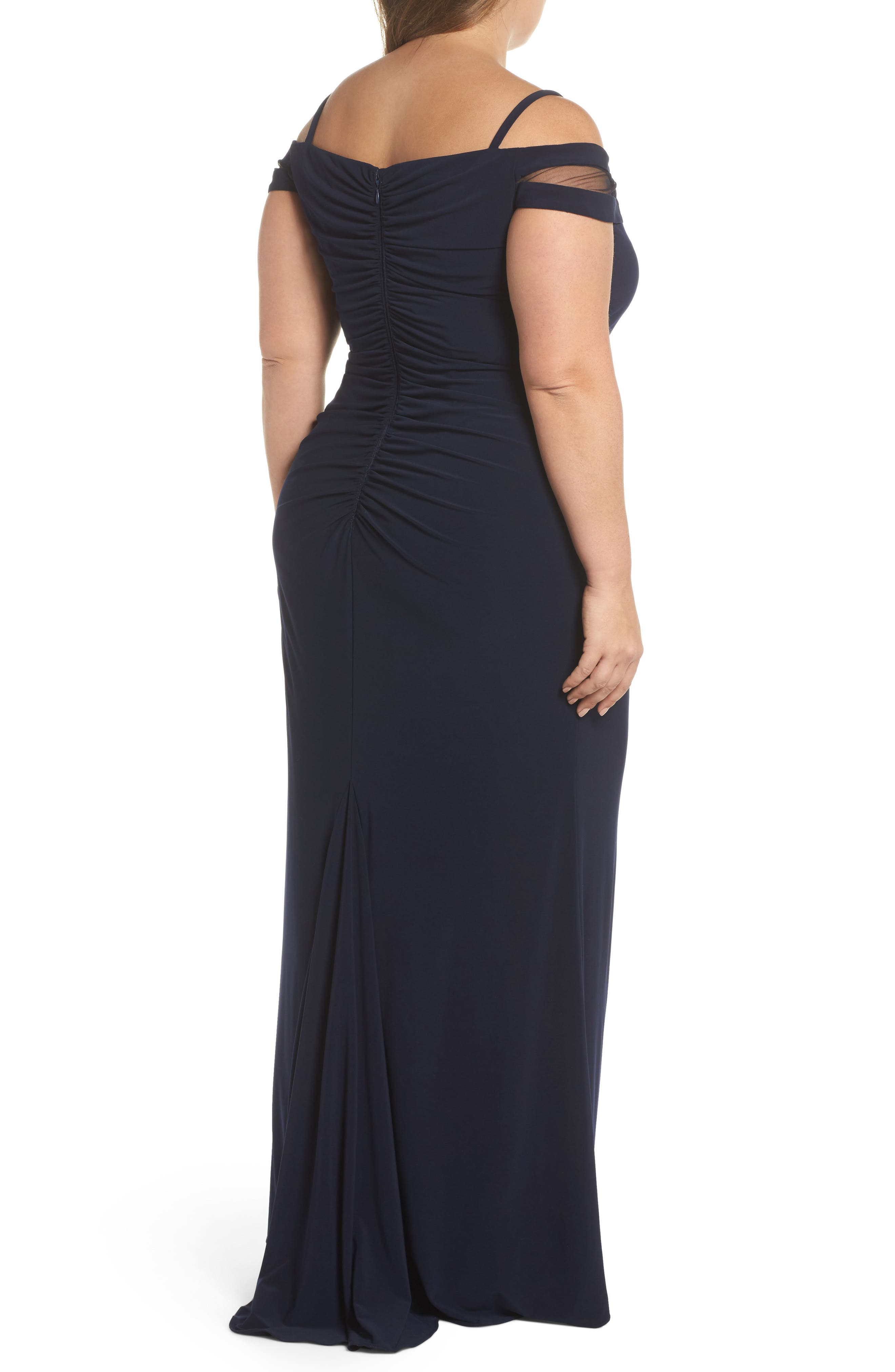 Off the Shoulder Gown,                             Alternate thumbnail 2, color,                             Navy