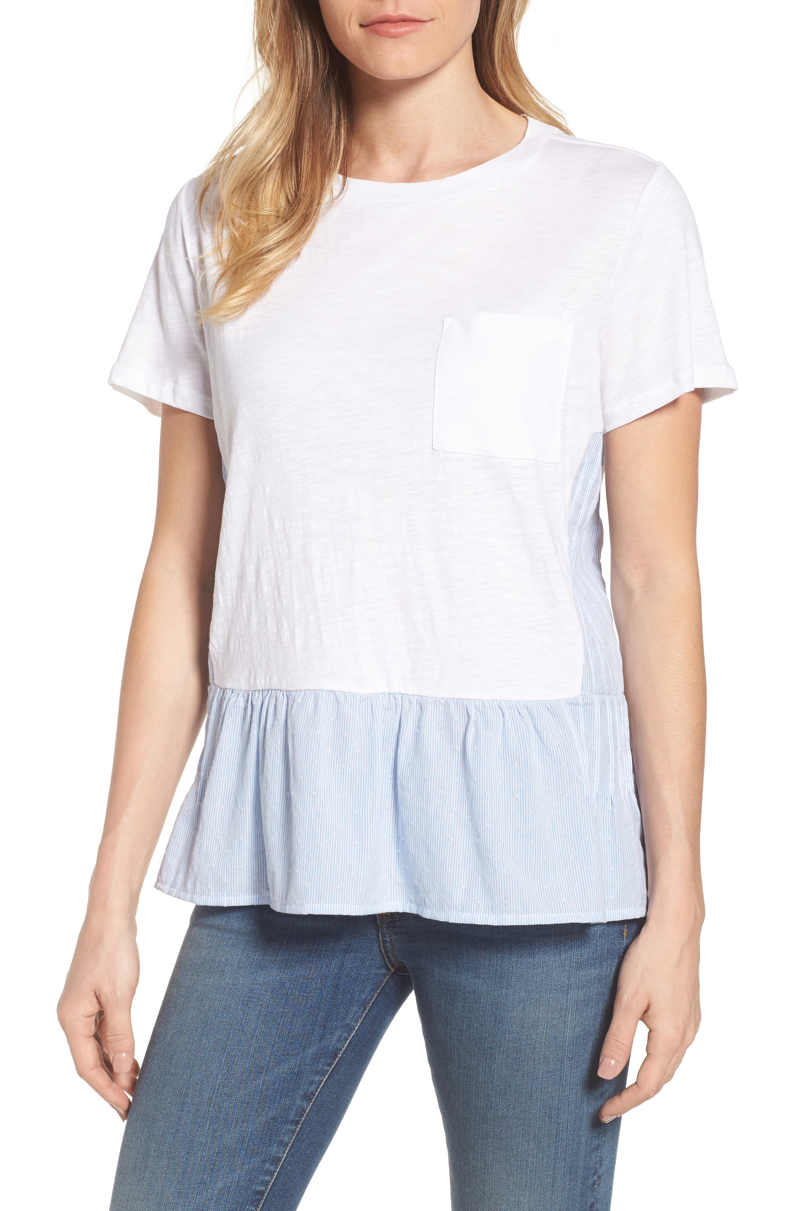 Layered Look Tee,                         Main,                         color, White- Blue White Dobby Stripe