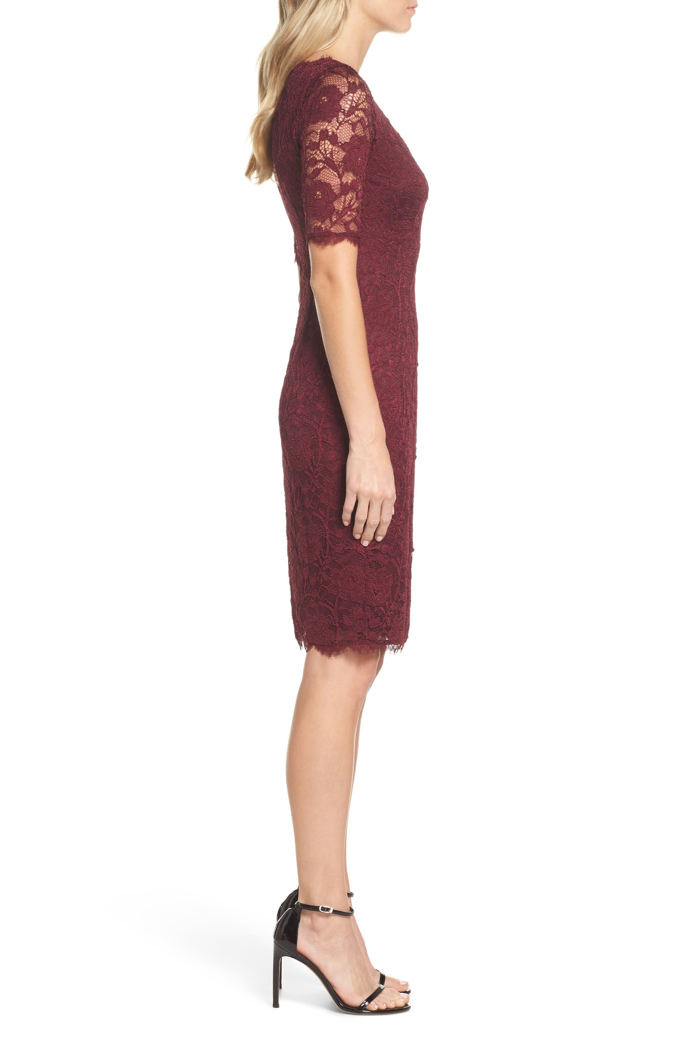 Rose Lace Sheath Dress,                             Alternate thumbnail 3, color,                             Cabernet