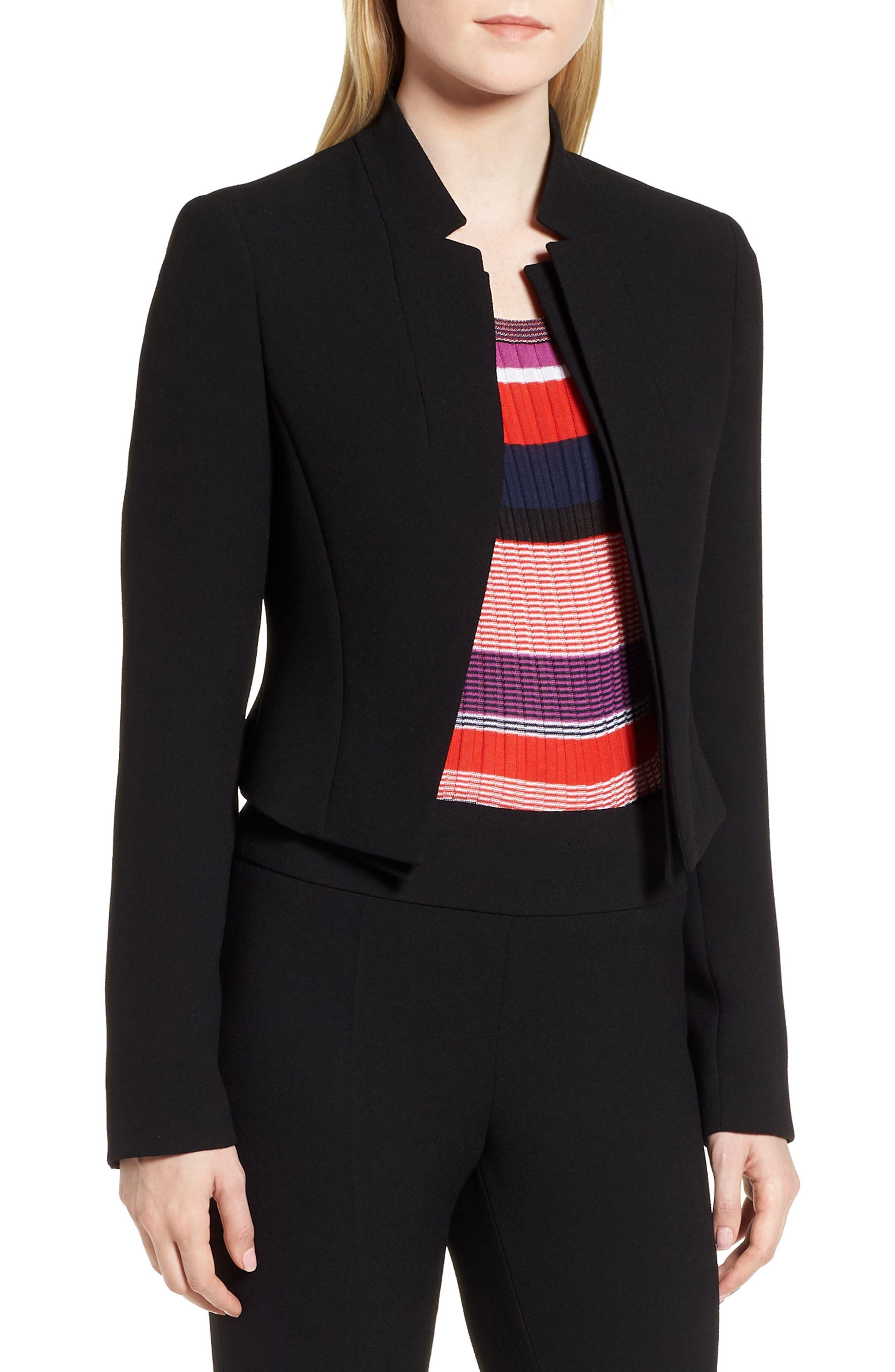 Jisala Compact Crepe Crop Jacket,                             Main thumbnail 1, color,                             Black
