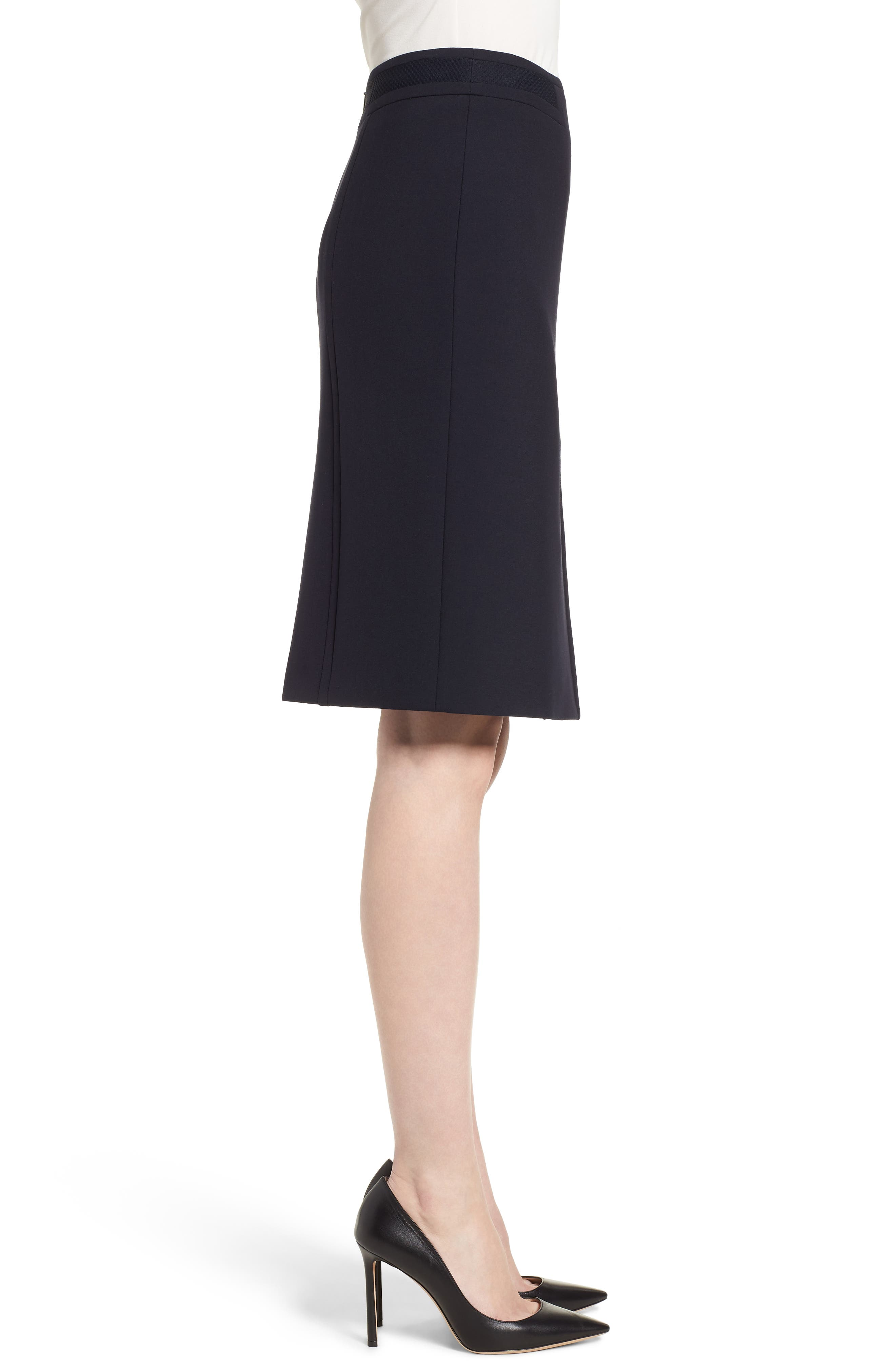 Vadama Ponte Pencil Skirt,                             Alternate thumbnail 3, color,                             Navy