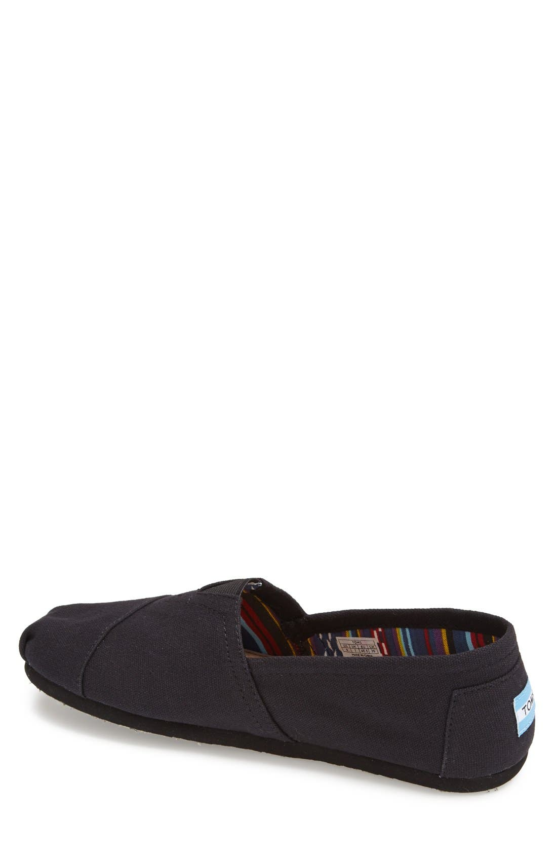 'Classic' Canvas Slip-On,                             Alternate thumbnail 2, color,                             Black/ Black