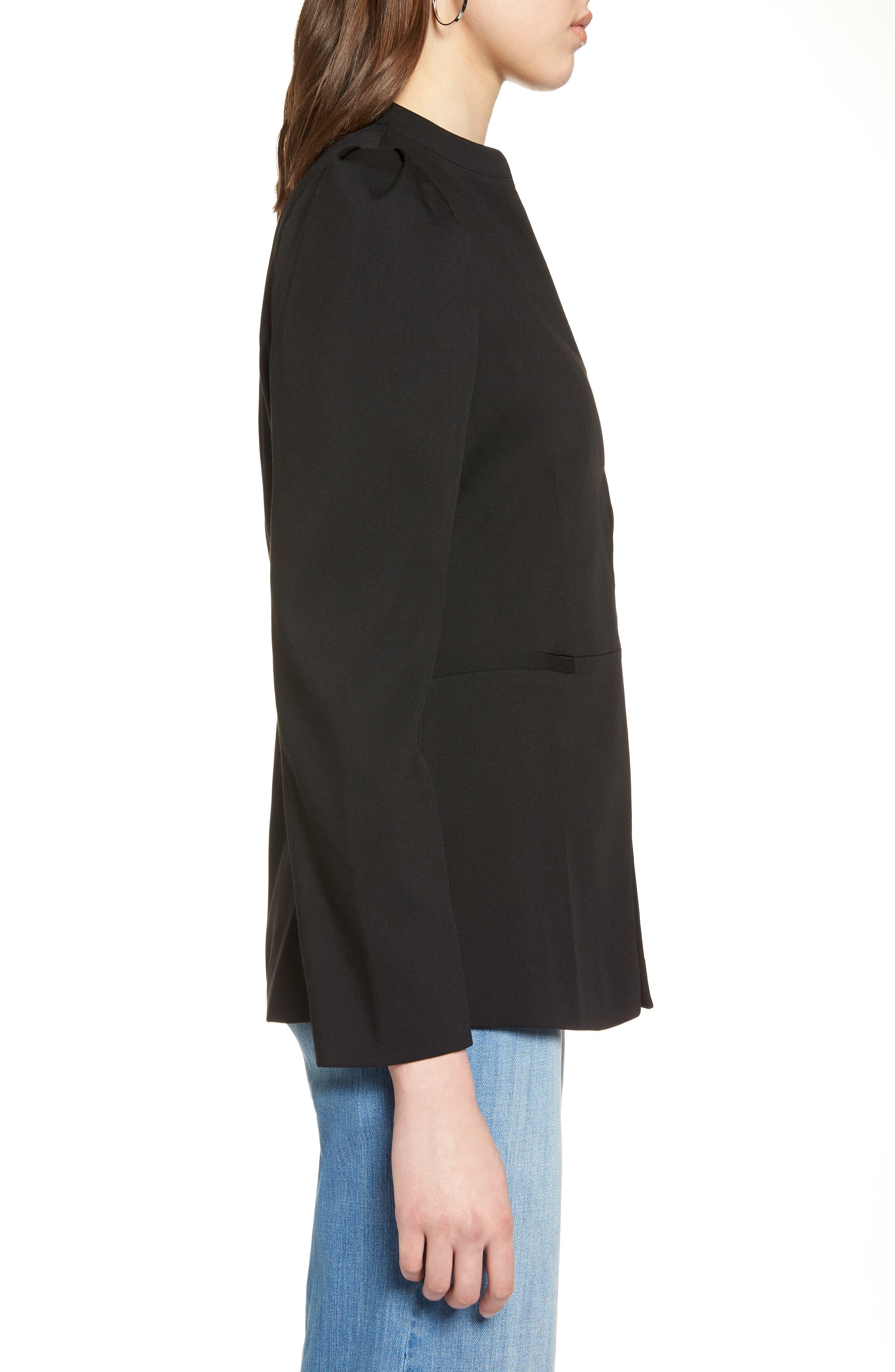 Puff Shoulder Jacket,                             Alternate thumbnail 3, color,                             Black