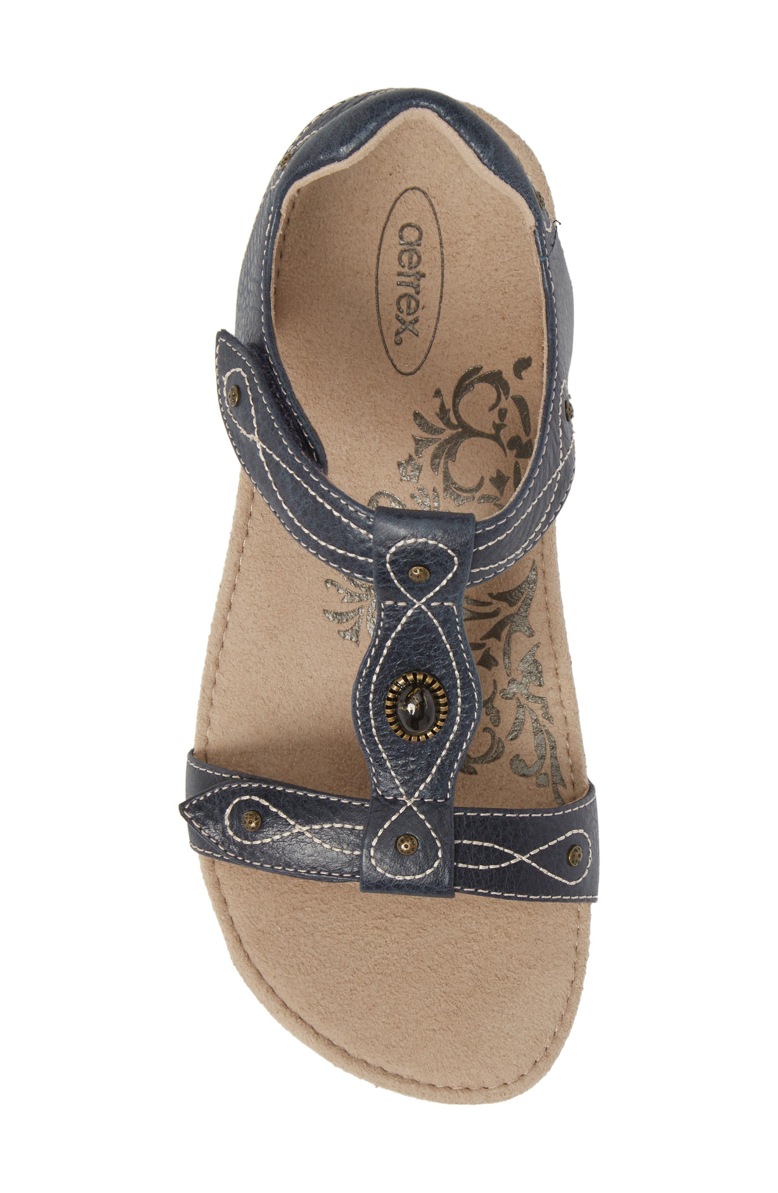 'Lori' Sandal,                             Alternate thumbnail 5, color,                             Navy Leather