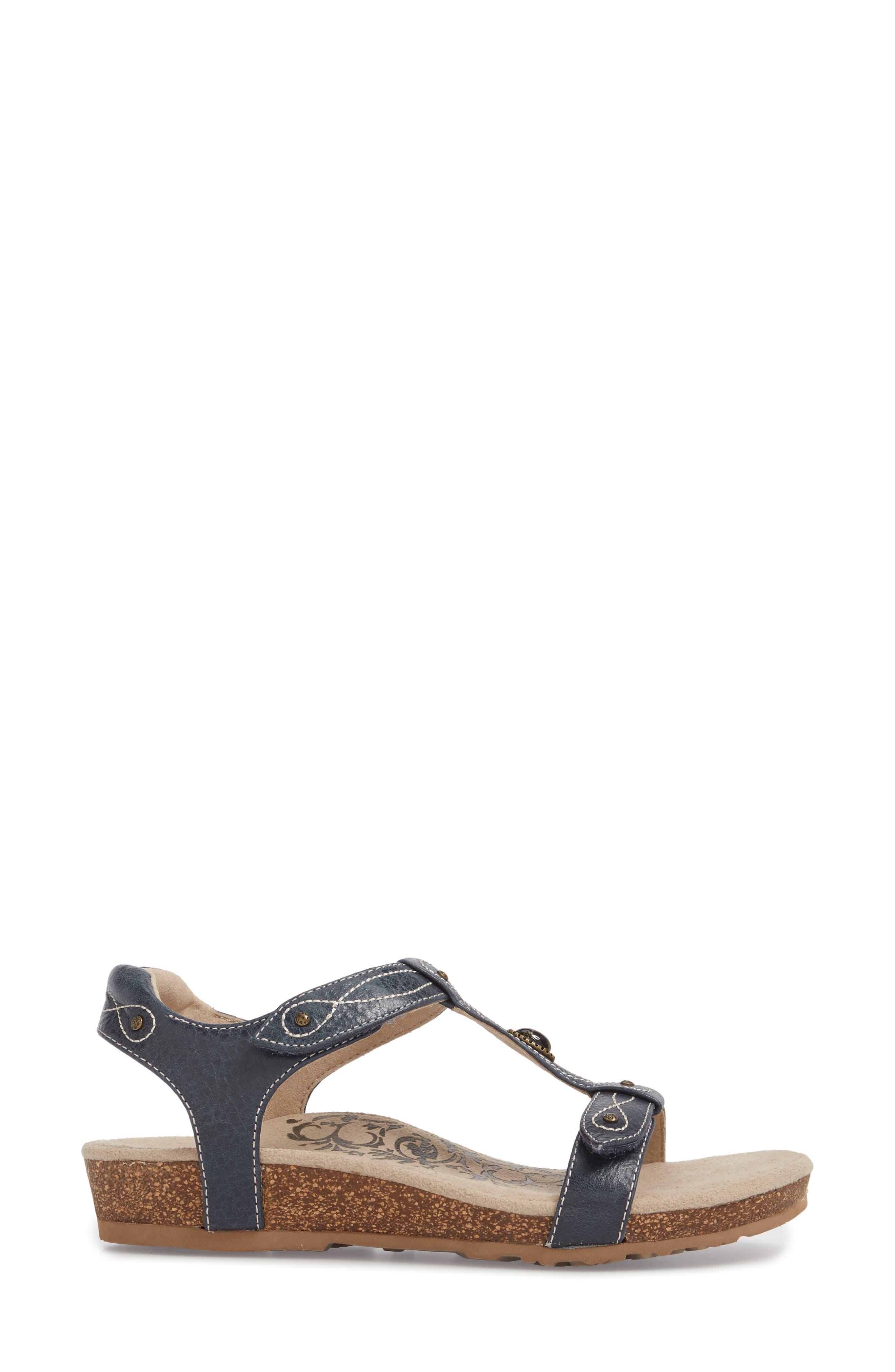 'Lori' Sandal,                             Alternate thumbnail 3, color,                             Navy Leather