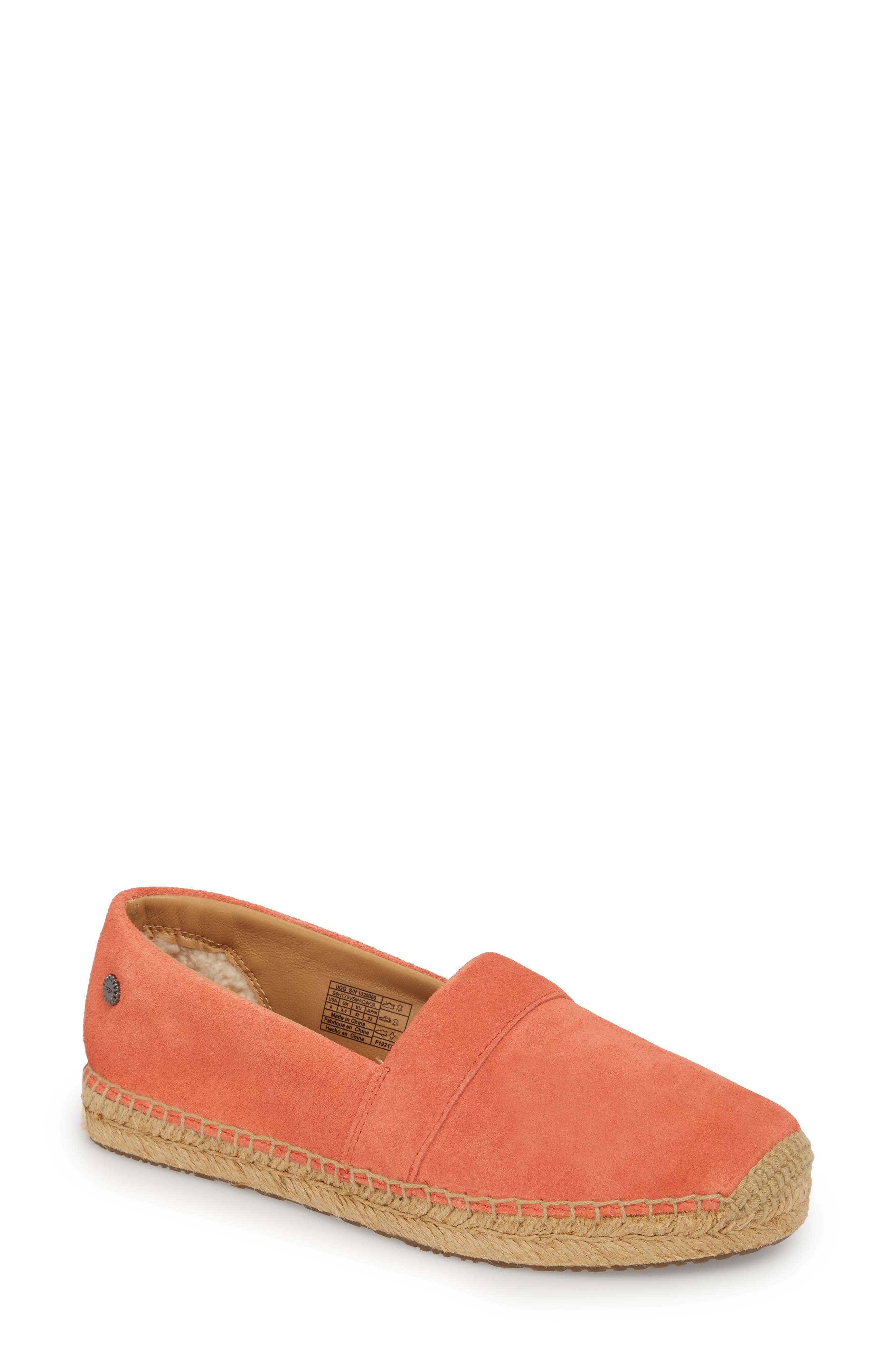 Reneda Espadrille Slip-On,                             Main thumbnail 1, color,                             Fusion Coral Suede