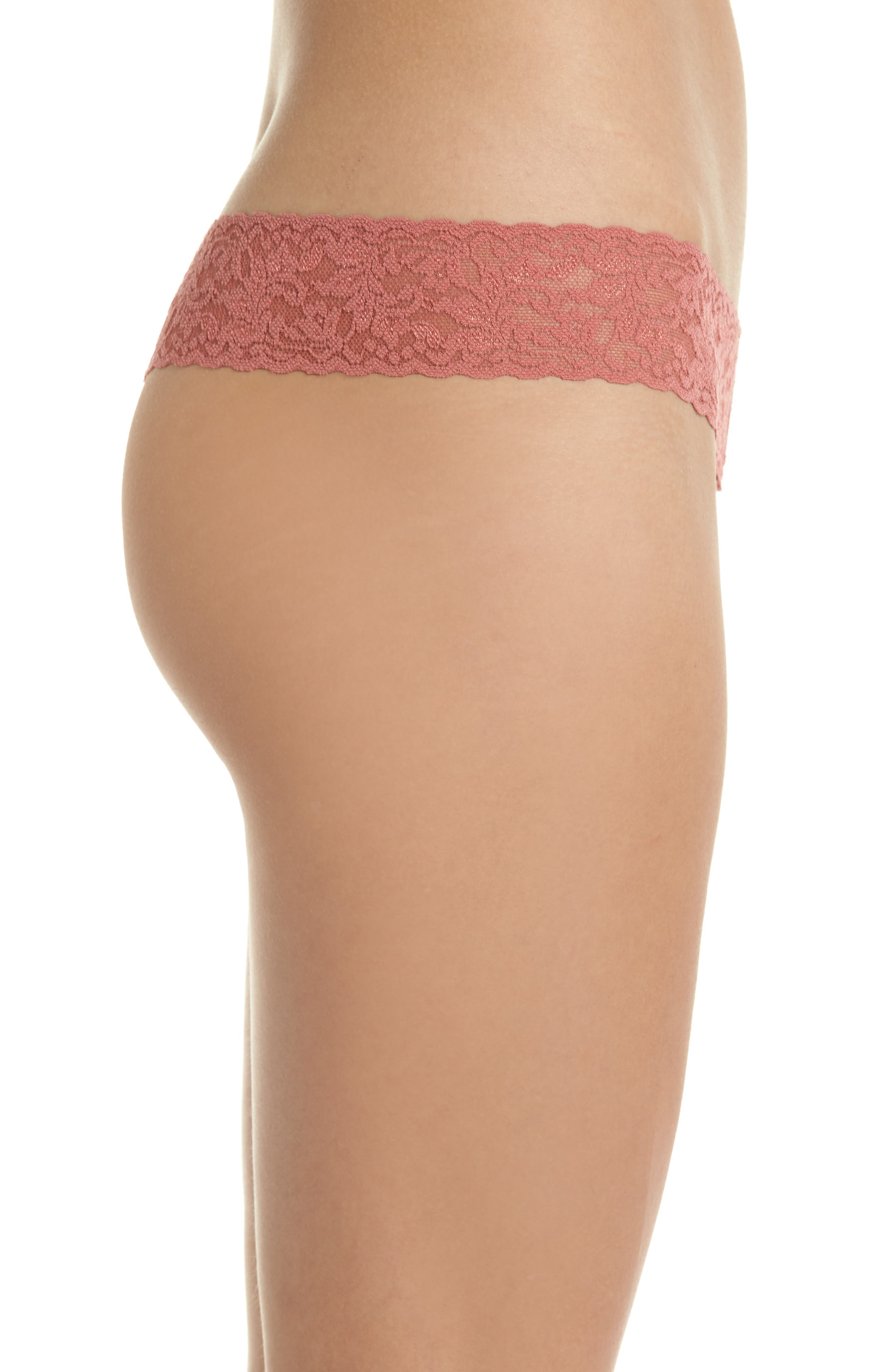 Signature Lace Low Rise Thong,                             Alternate thumbnail 3, color,                             Pink Sands