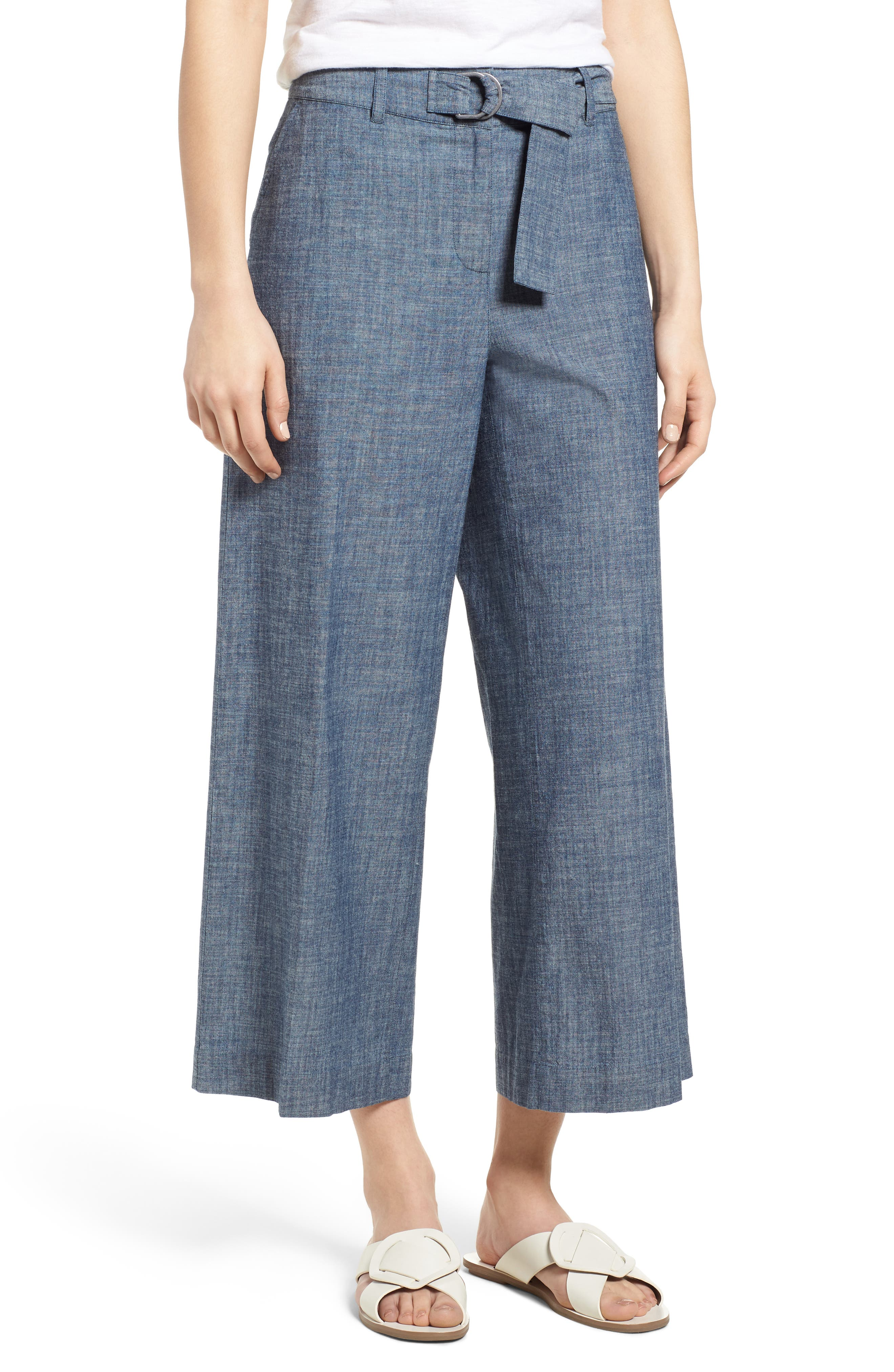 Wide Leg Crop Pants,                         Main,                         color, Textured Navy