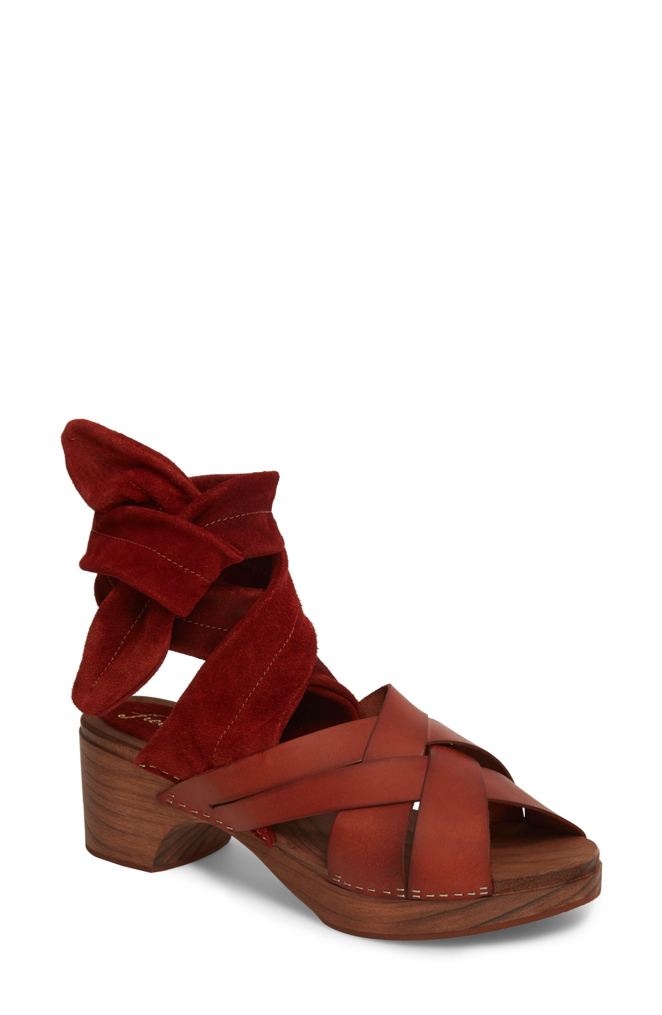 Emmy Ankle Wrap Sandal,                         Main,                         color, Brown