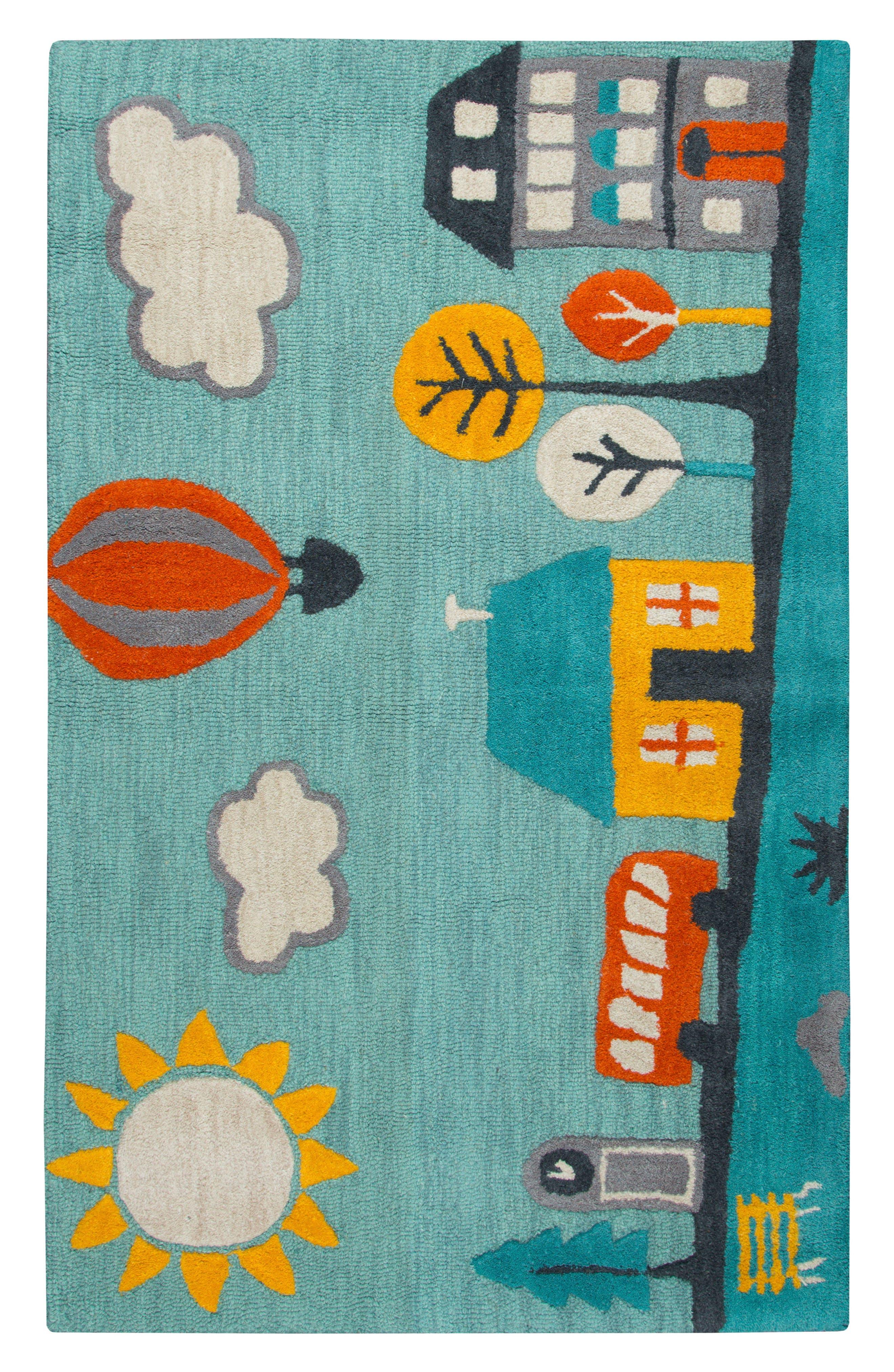 Play Day Jolly Town Rug,                             Main thumbnail 1, color,                             Aqua
