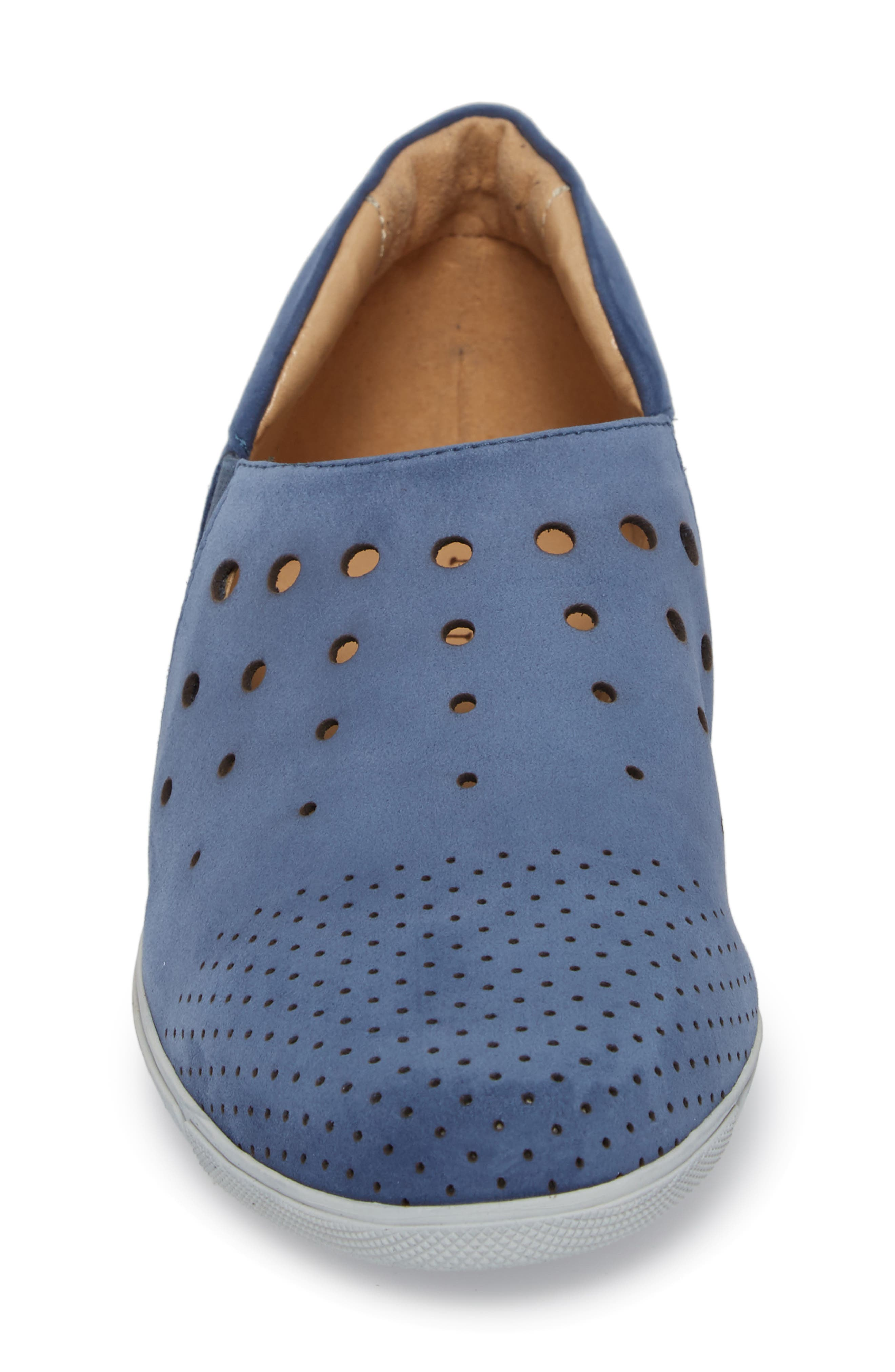Ditty Perforated Slip-On,                             Alternate thumbnail 4, color,                             Jeans Soft Nubuck