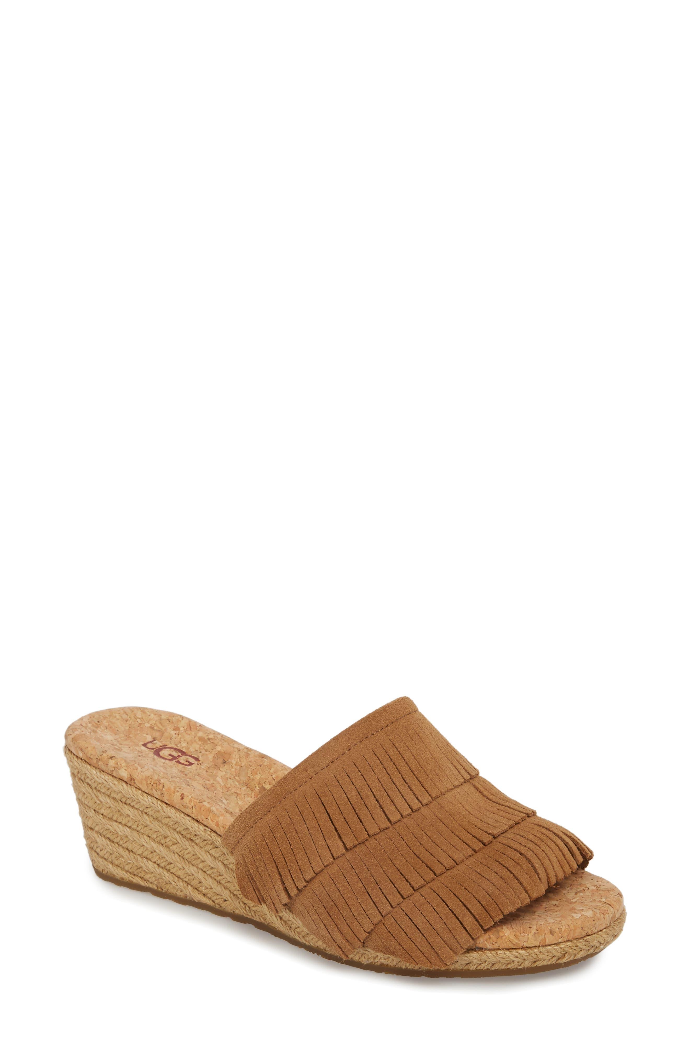 Kendra Fringe Wedge Sandal,                             Main thumbnail 1, color,                             Chestnut Suede